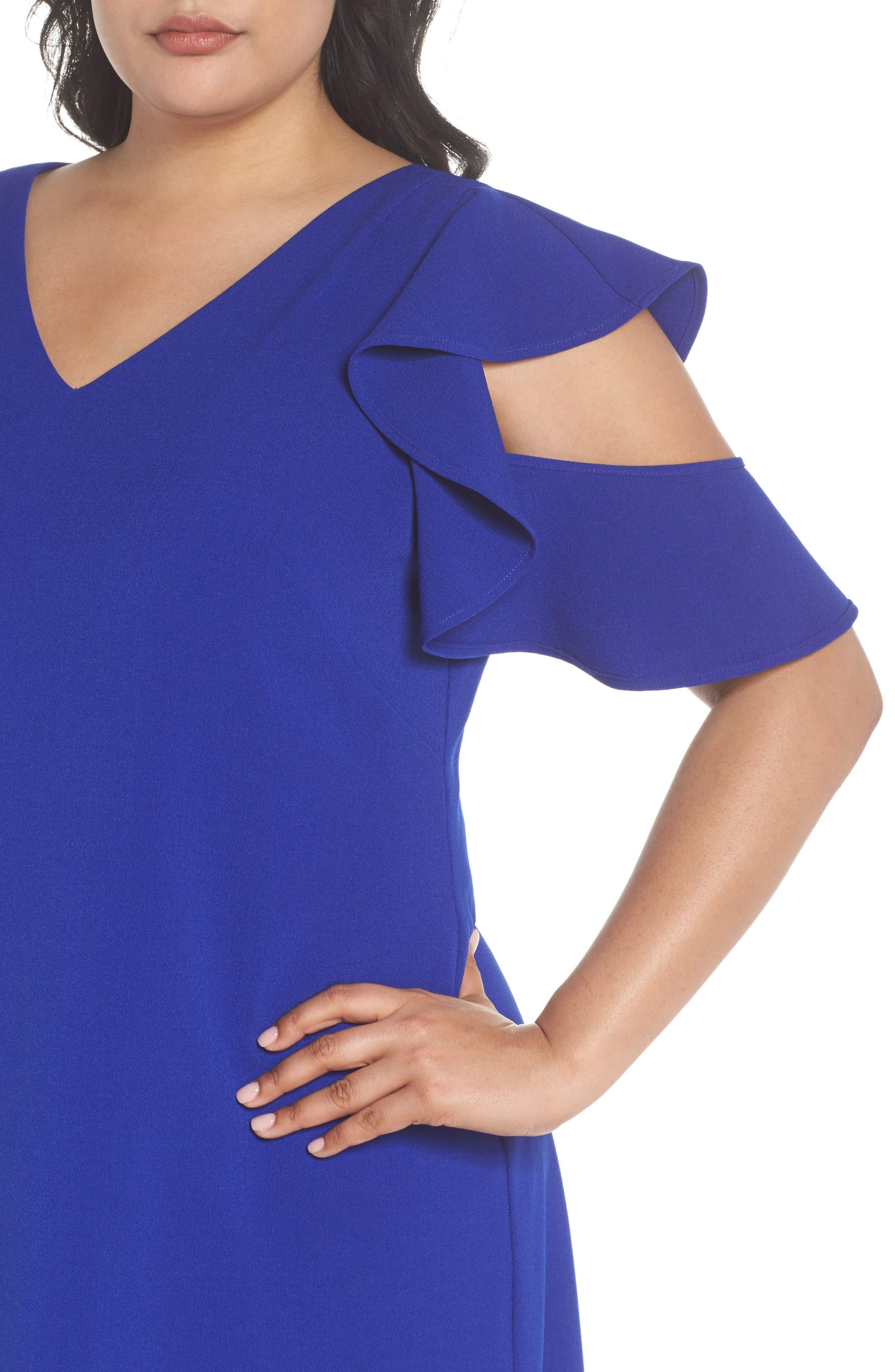Ruffle Cold Shoulder Shift Dress,                             Alternate thumbnail 4, color,                             Blue Surf