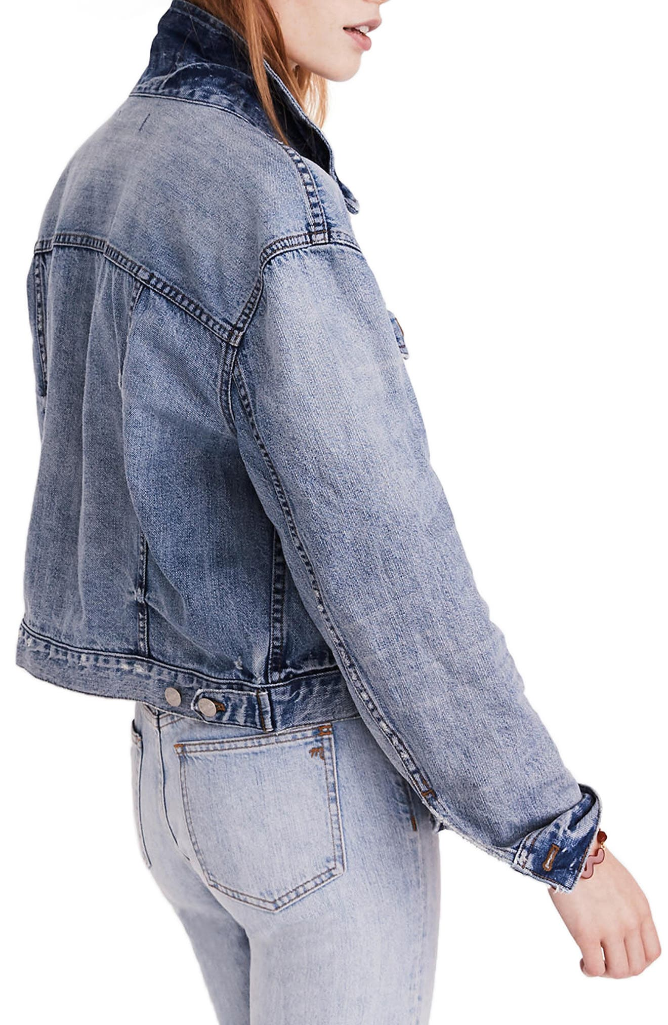 Boxy Crop Jean Jacket,                             Alternate thumbnail 3, color,                             Woodcourt Wash
