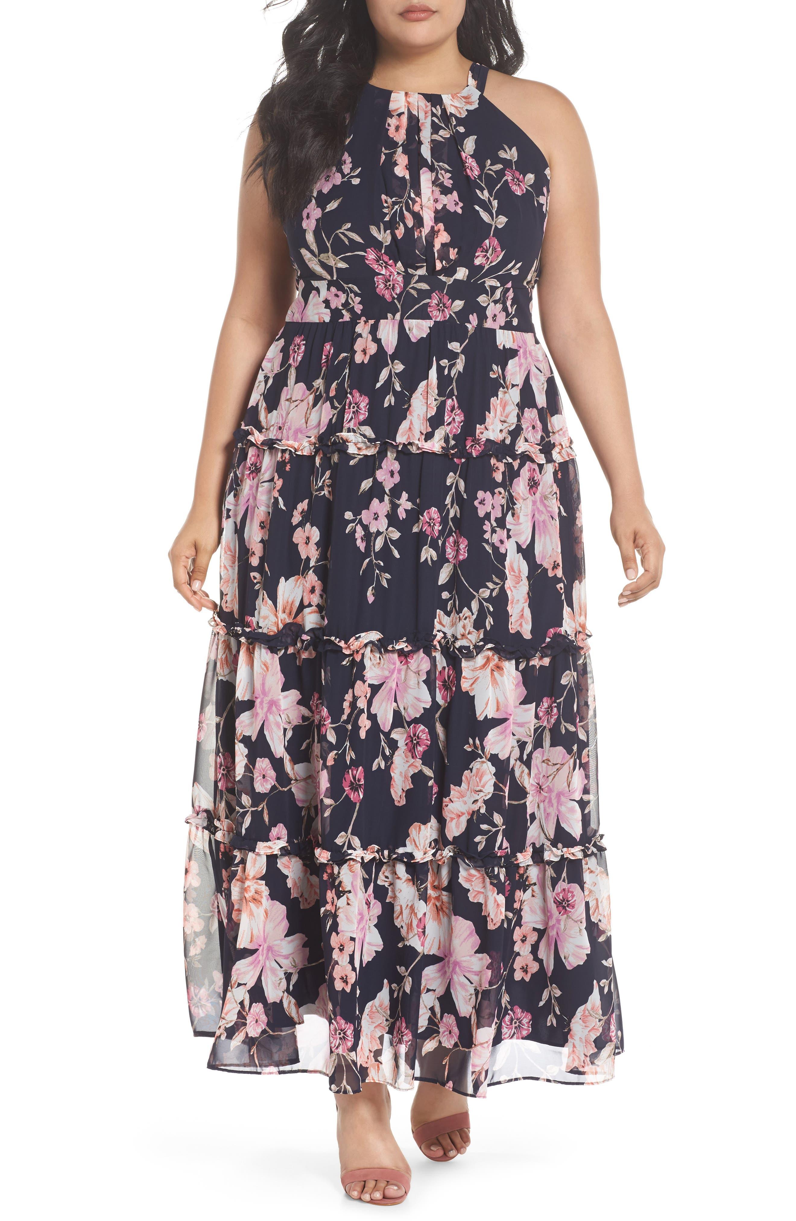 Floral Ruffle Trim Chiffon Halter Maxi Dress,                         Main,                         color, Navy/ Pink