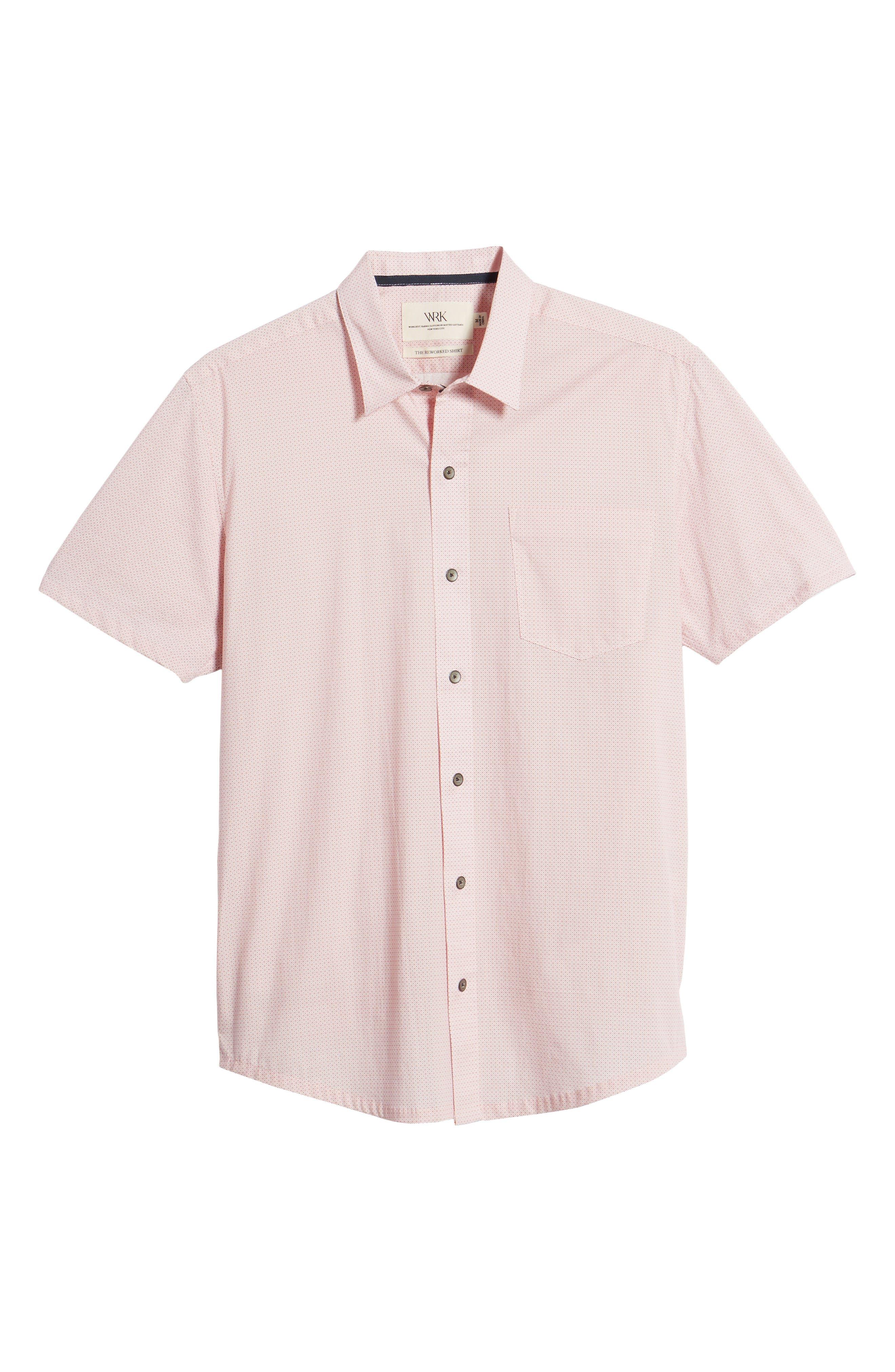 Square Slim Fit Dot Sport Shirt,                             Alternate thumbnail 6, color,                             Pink