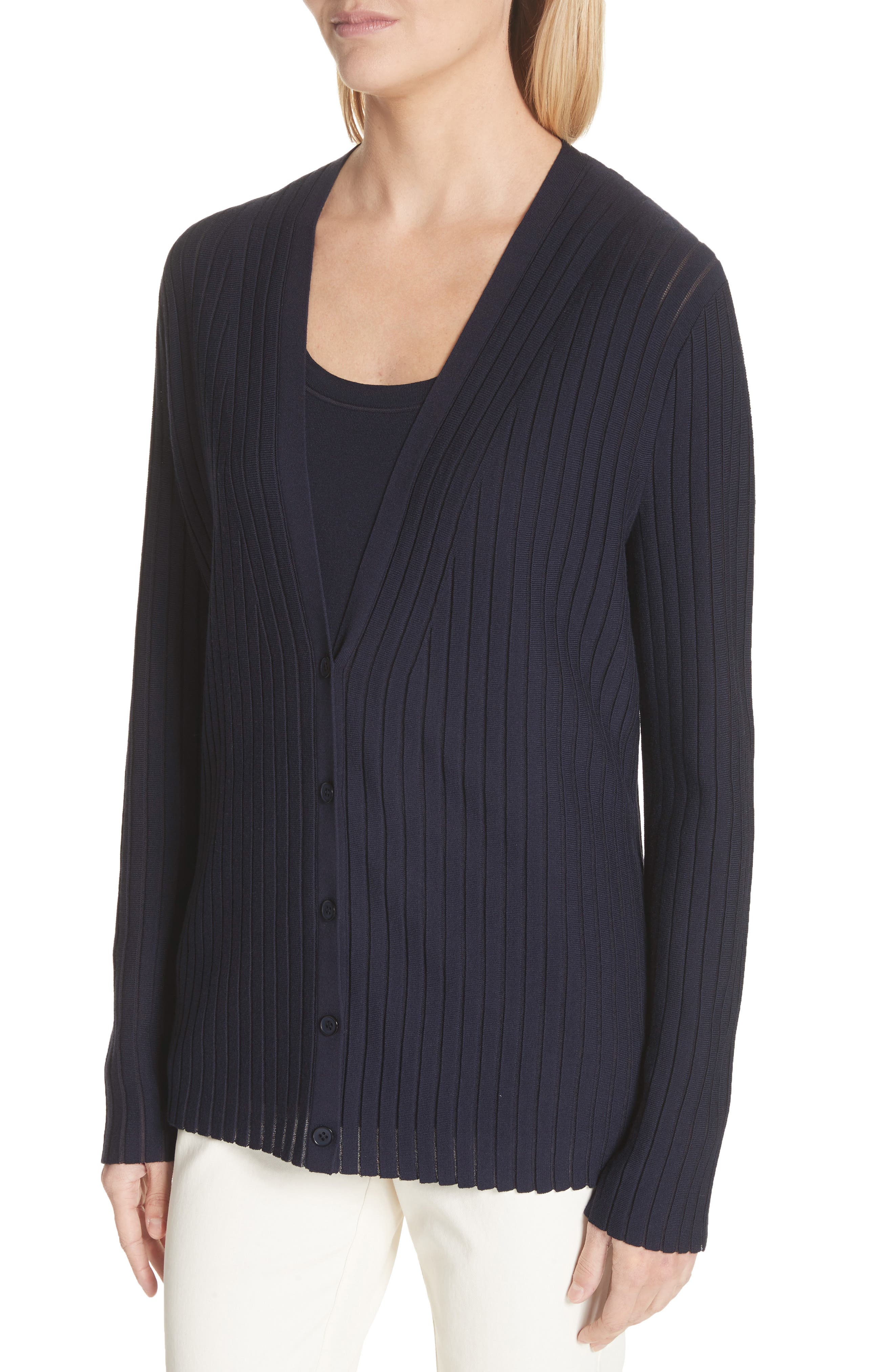 Matte Crepe Solid & Sheer Cardigan,                             Alternate thumbnail 5, color,                             Ink