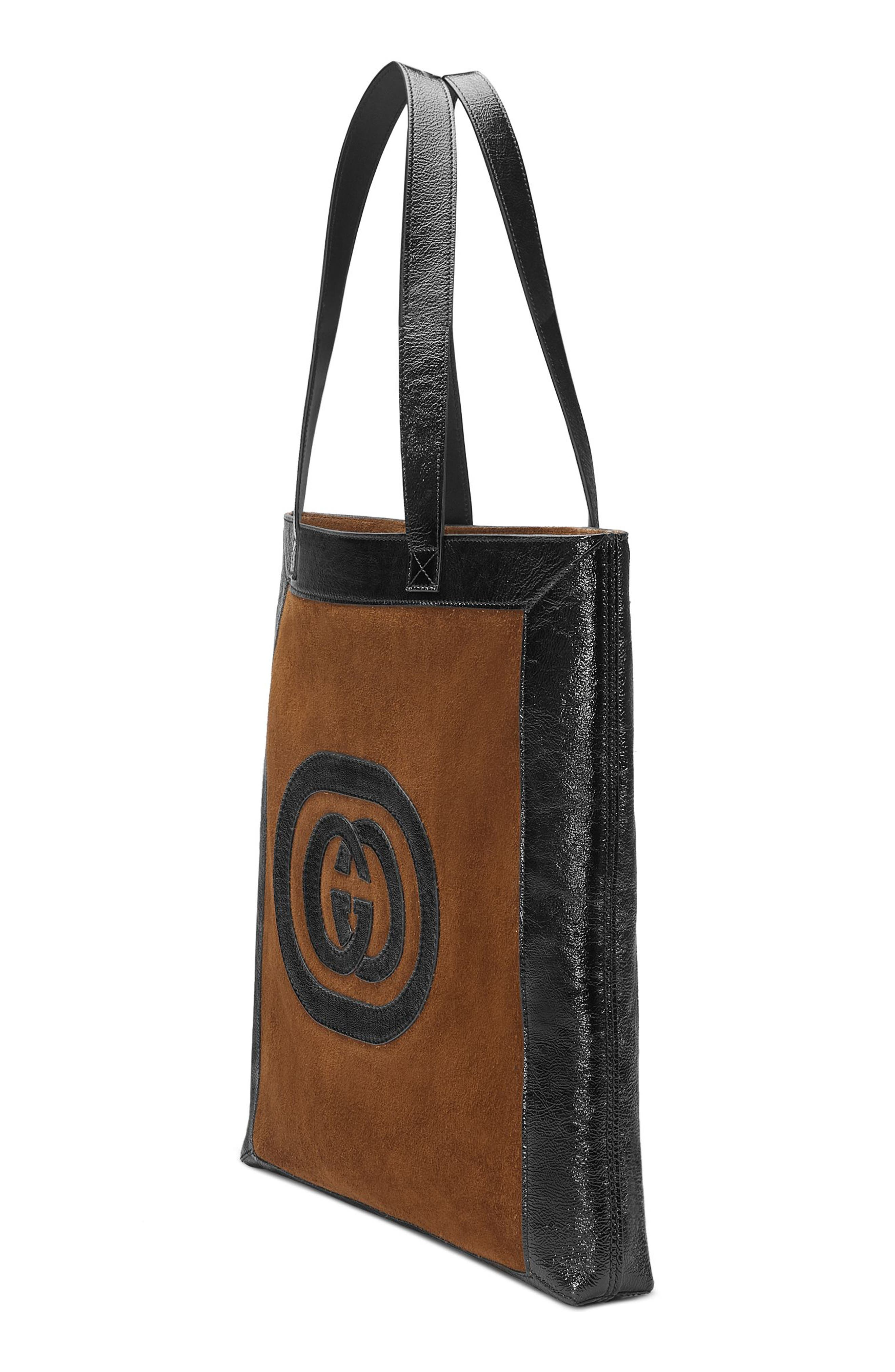 Large GG Calfskin Suede Tote with Zip Pouch,                             Alternate thumbnail 4, color,                             Brown/ Black