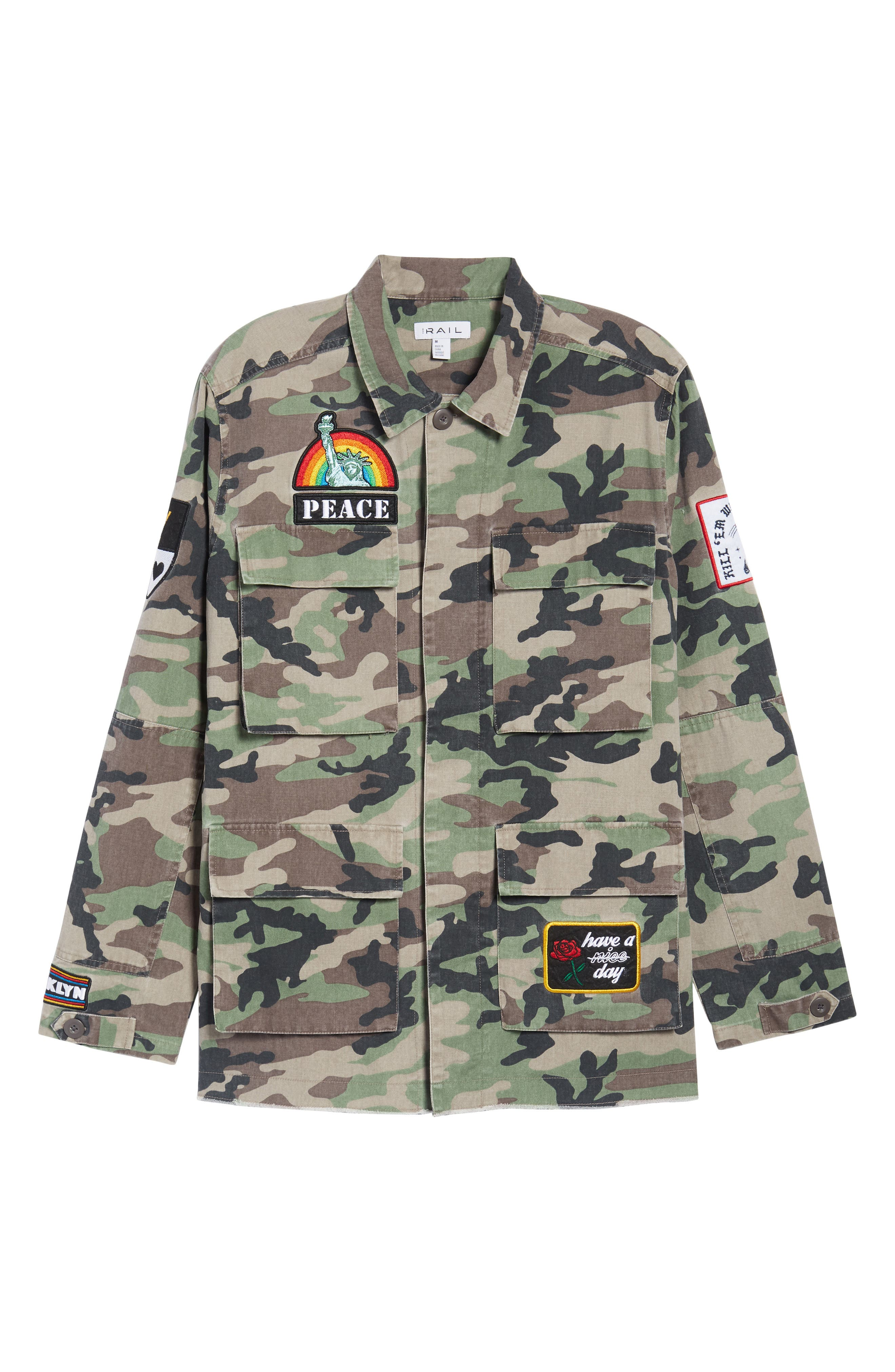 Military Patch Jacket,                             Alternate thumbnail 6, color,                             Brown Green Camo