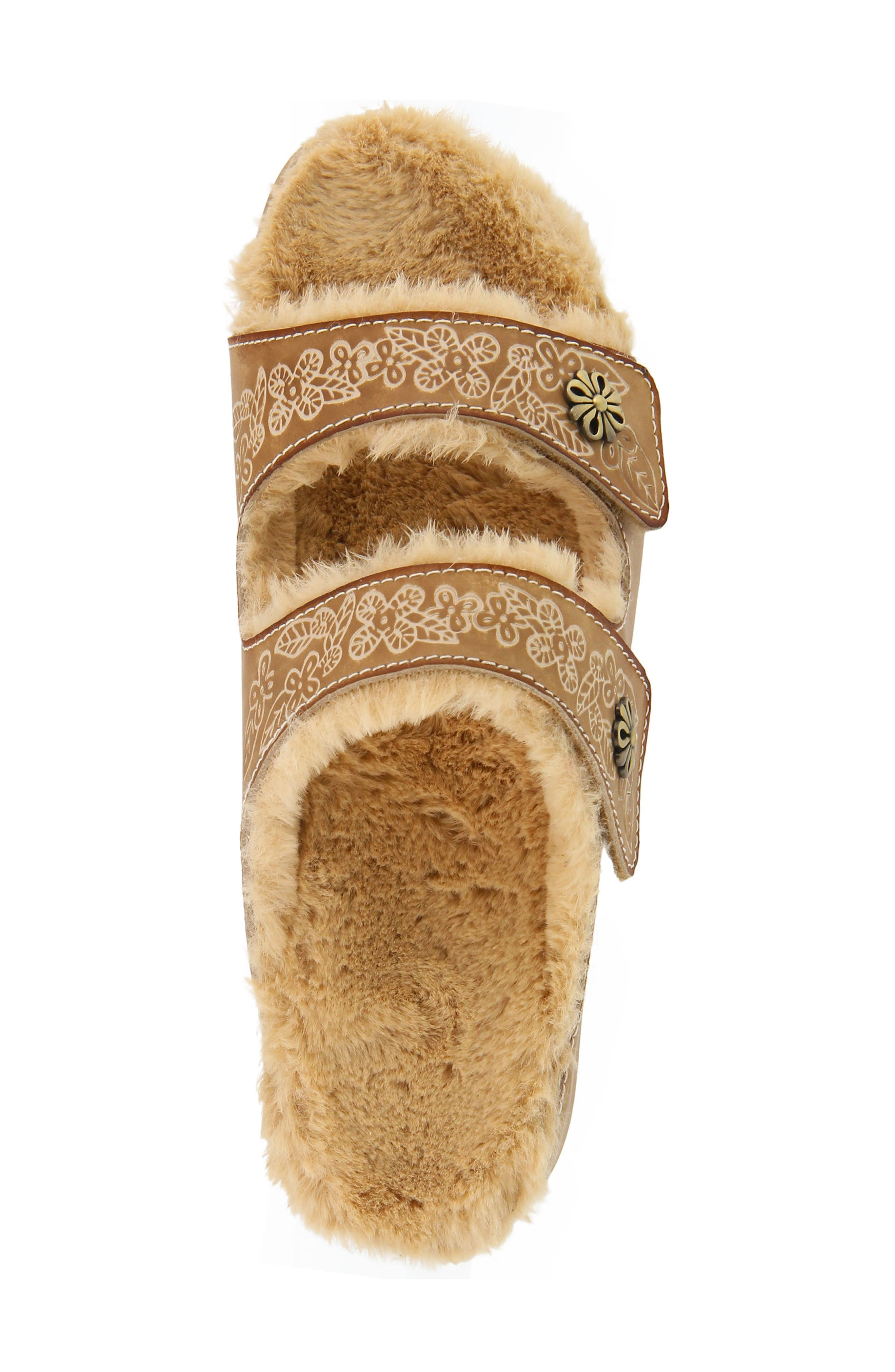 L'Artiste Furrie Sandal,                             Alternate thumbnail 5, color,                             Beige Leather