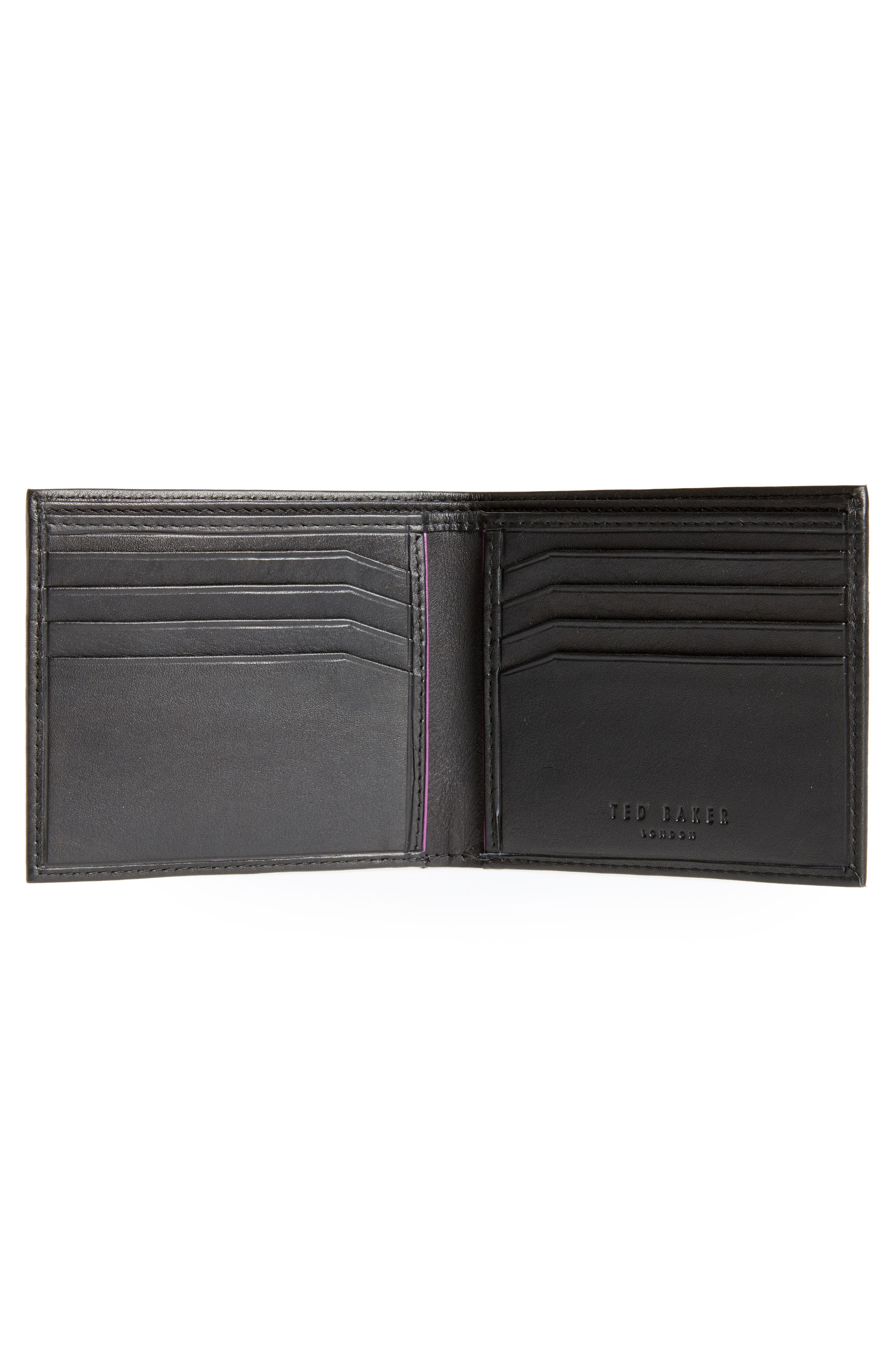 Figgy Inset Spine Leather Wallet,                             Alternate thumbnail 2, color,                             Black