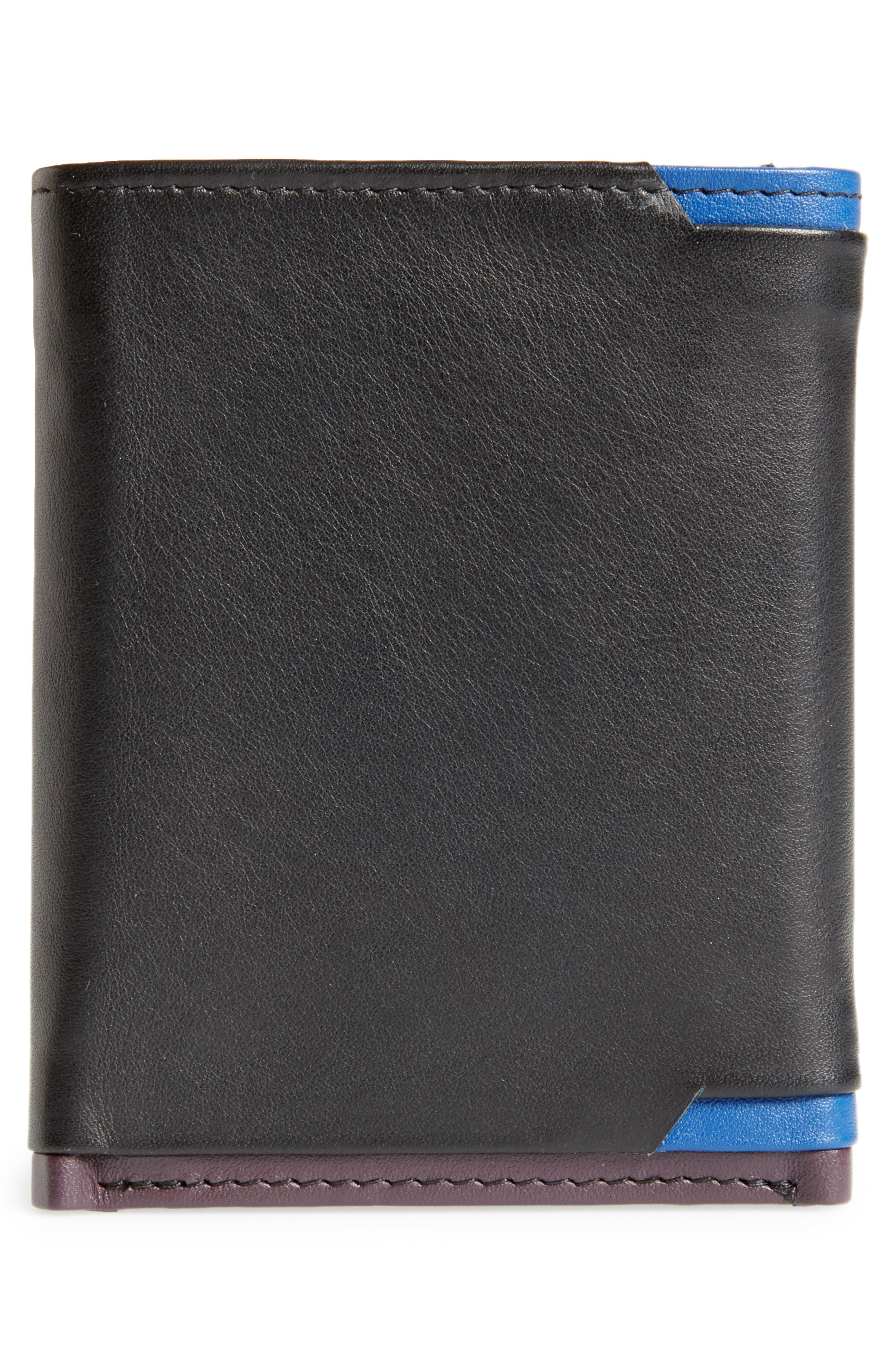 Vien Corner Detail Trifold Leather Wallet,                             Alternate thumbnail 3, color,                             Black