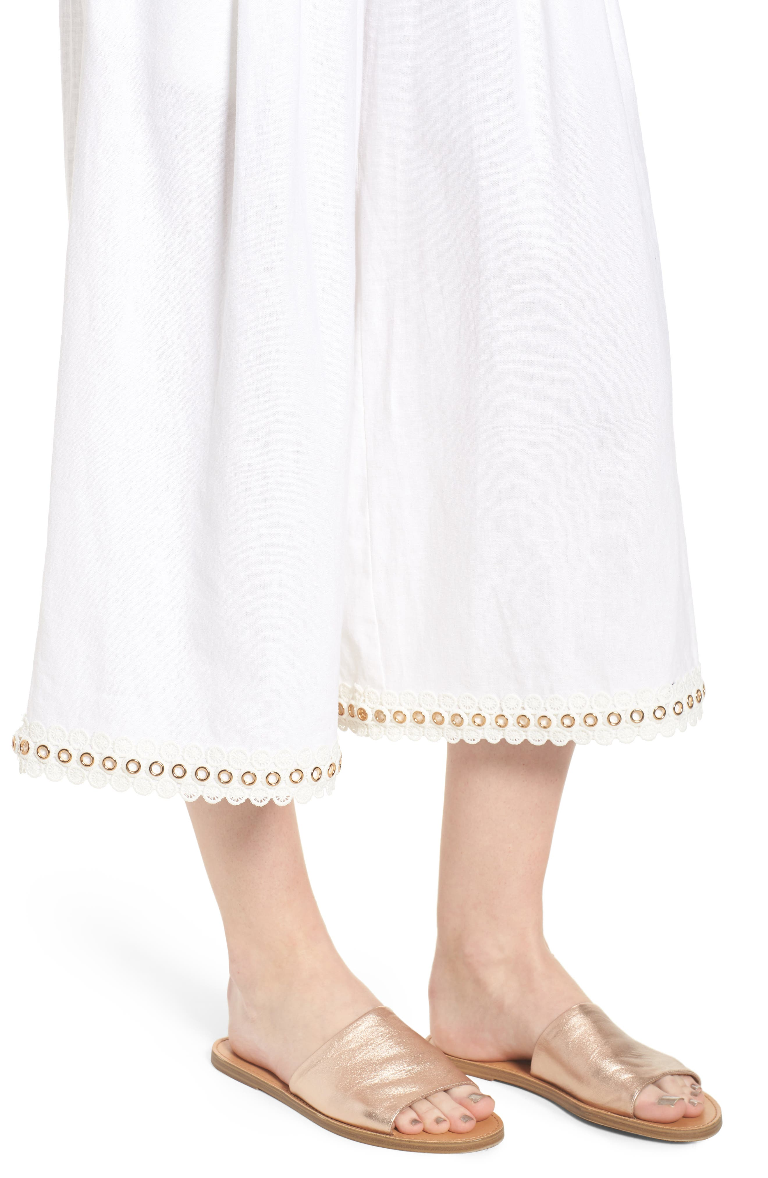 Imara Linen Blend Pants,                             Alternate thumbnail 4, color,                             White