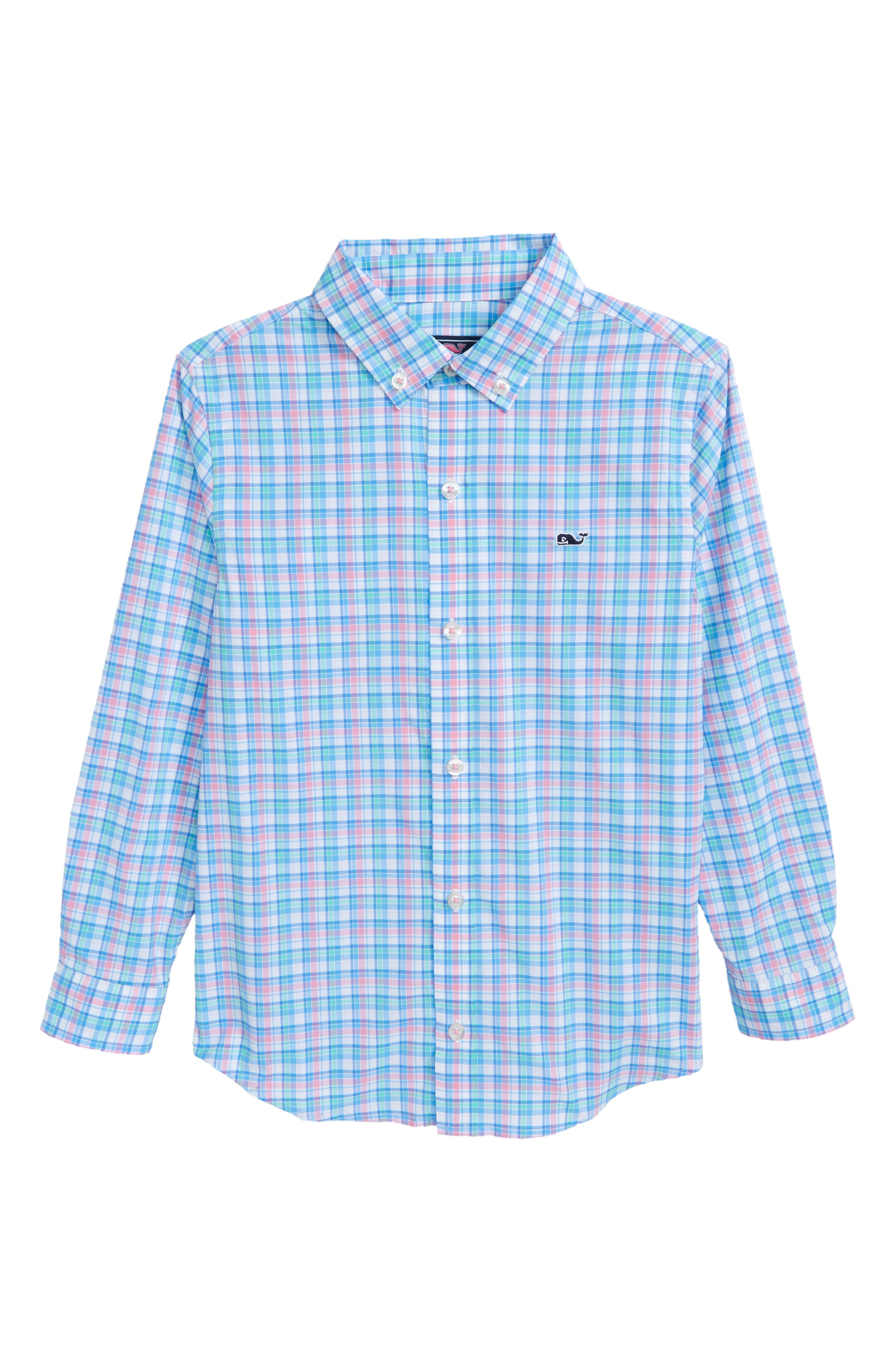 Sheltered Cove Plaid Whale Shirt,                         Main,                         color, Pink