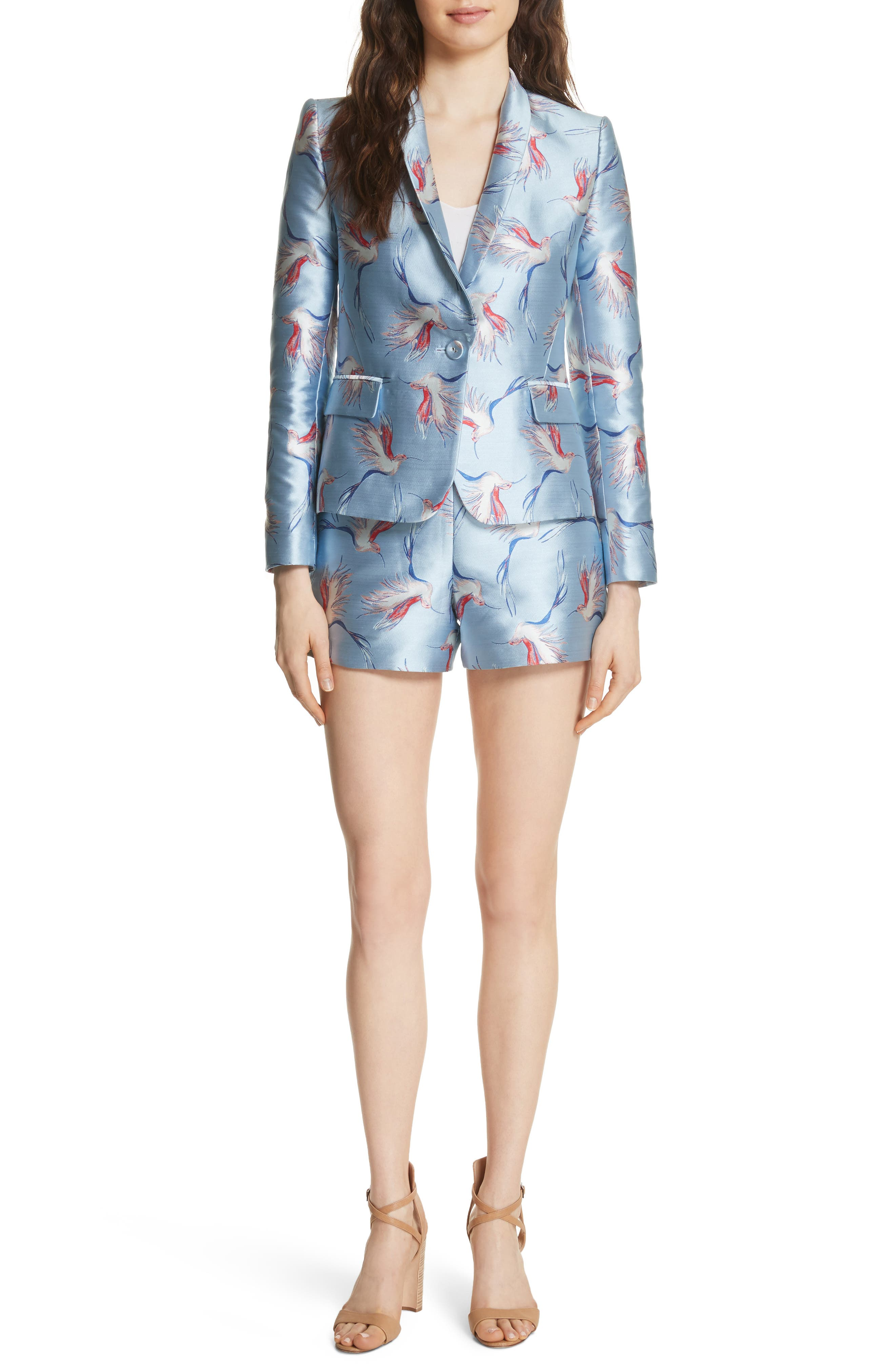 Macey Bird Print Jacket,                             Alternate thumbnail 5, color,                             Dusty Aqua/ Multi