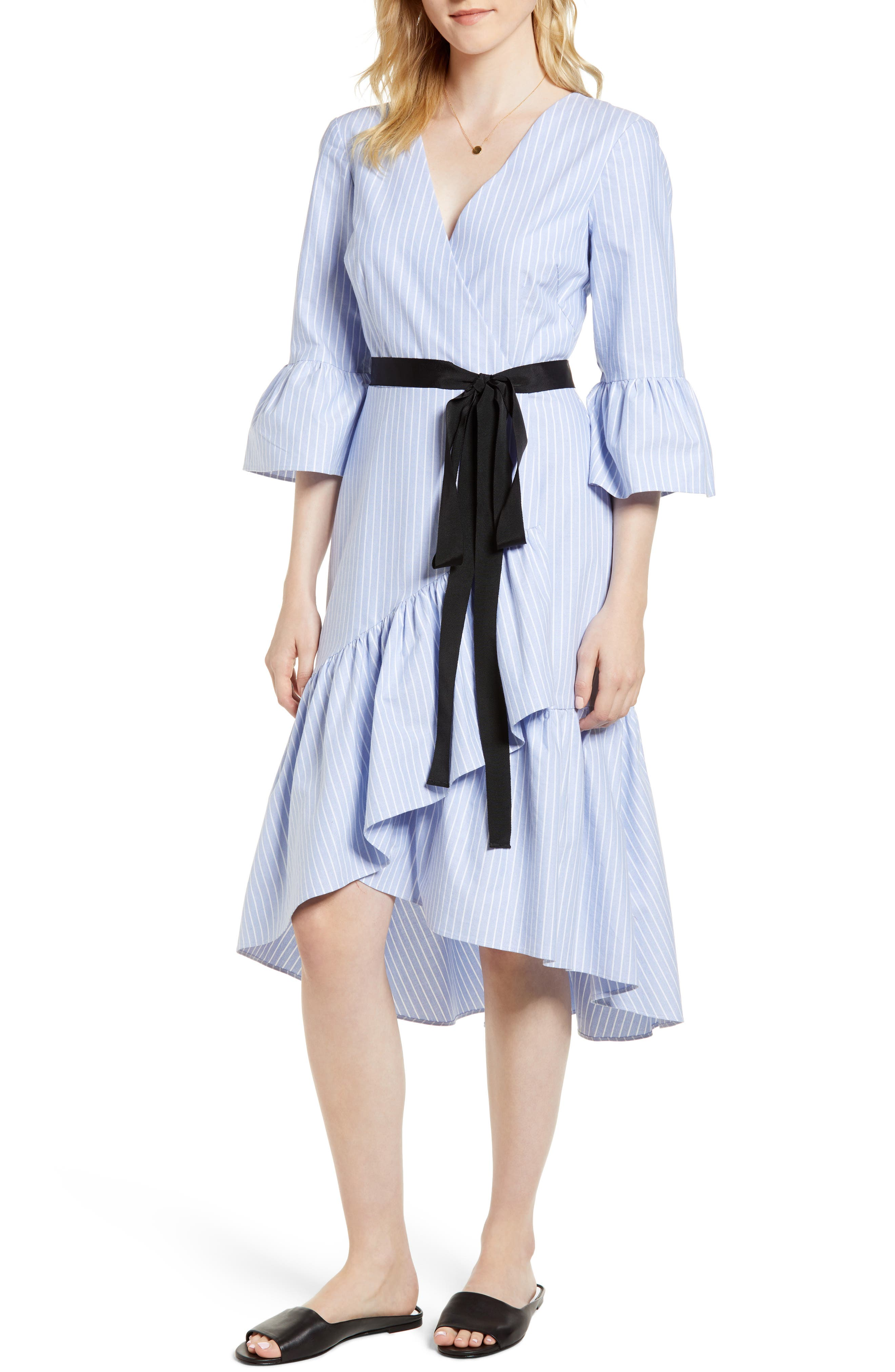 Ruffle Hem Faux Wrap Dress,                             Main thumbnail 1, color,                             Blue- White Stripe