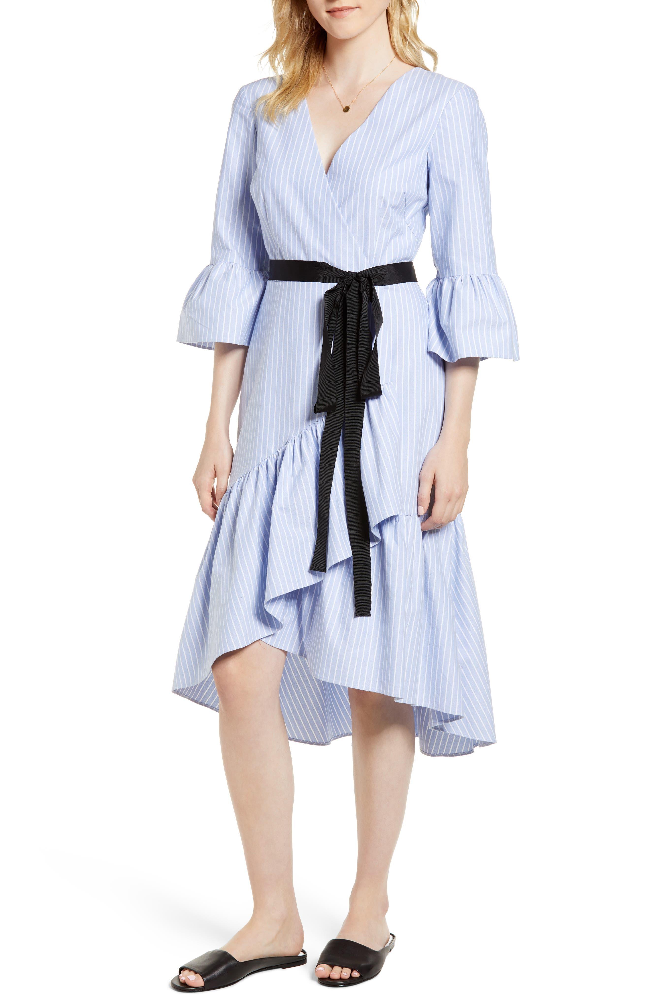 Ruffle Hem Faux Wrap Dress,                         Main,                         color, Blue- White Stripe