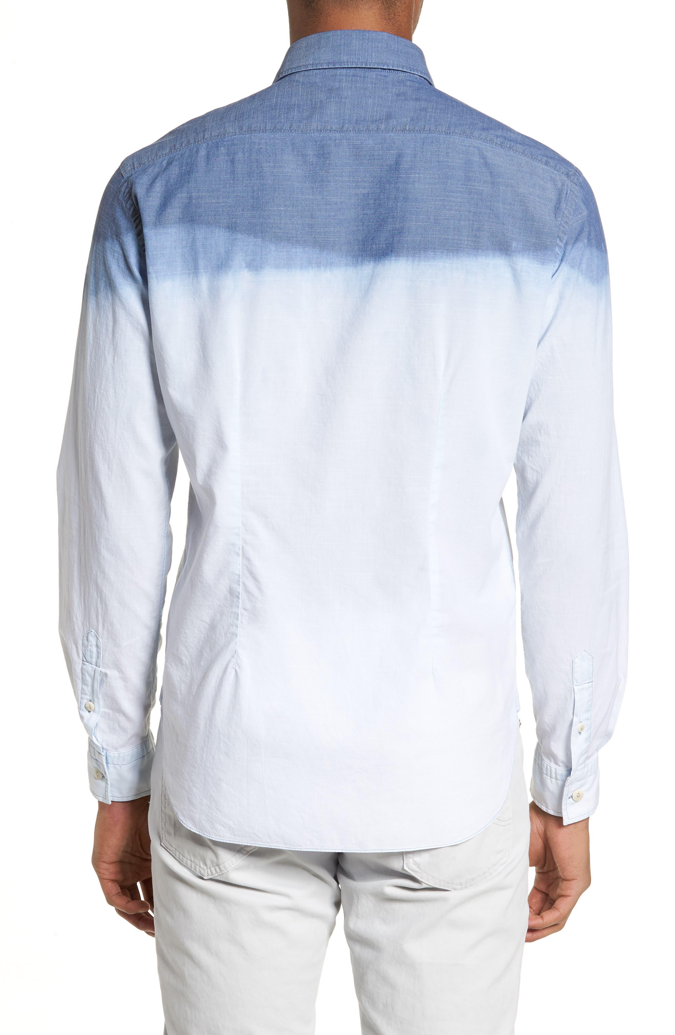 Tailored Fit Dégradé Sport Shirt,                             Alternate thumbnail 2, color,                             Blue