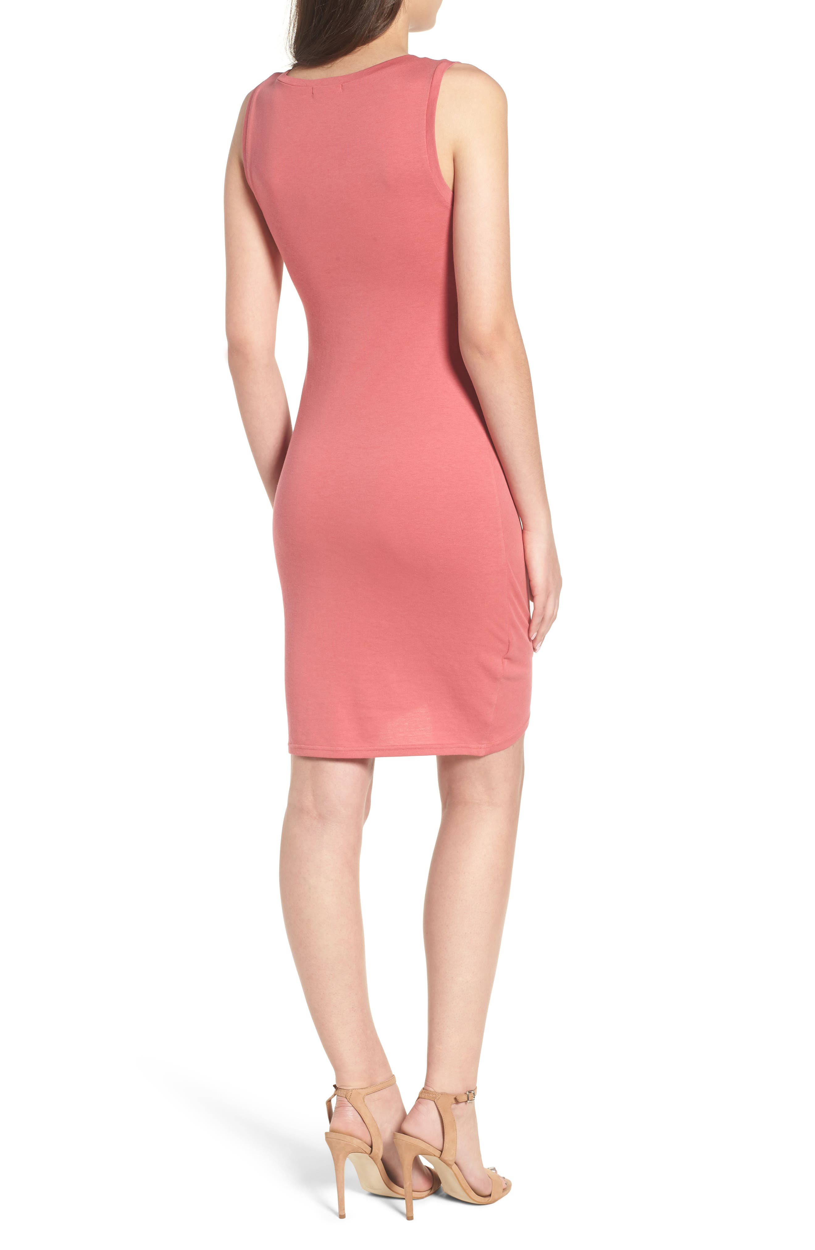 Ruched Body-Con Tank Dress,                             Alternate thumbnail 2, color,                             Red Baroque