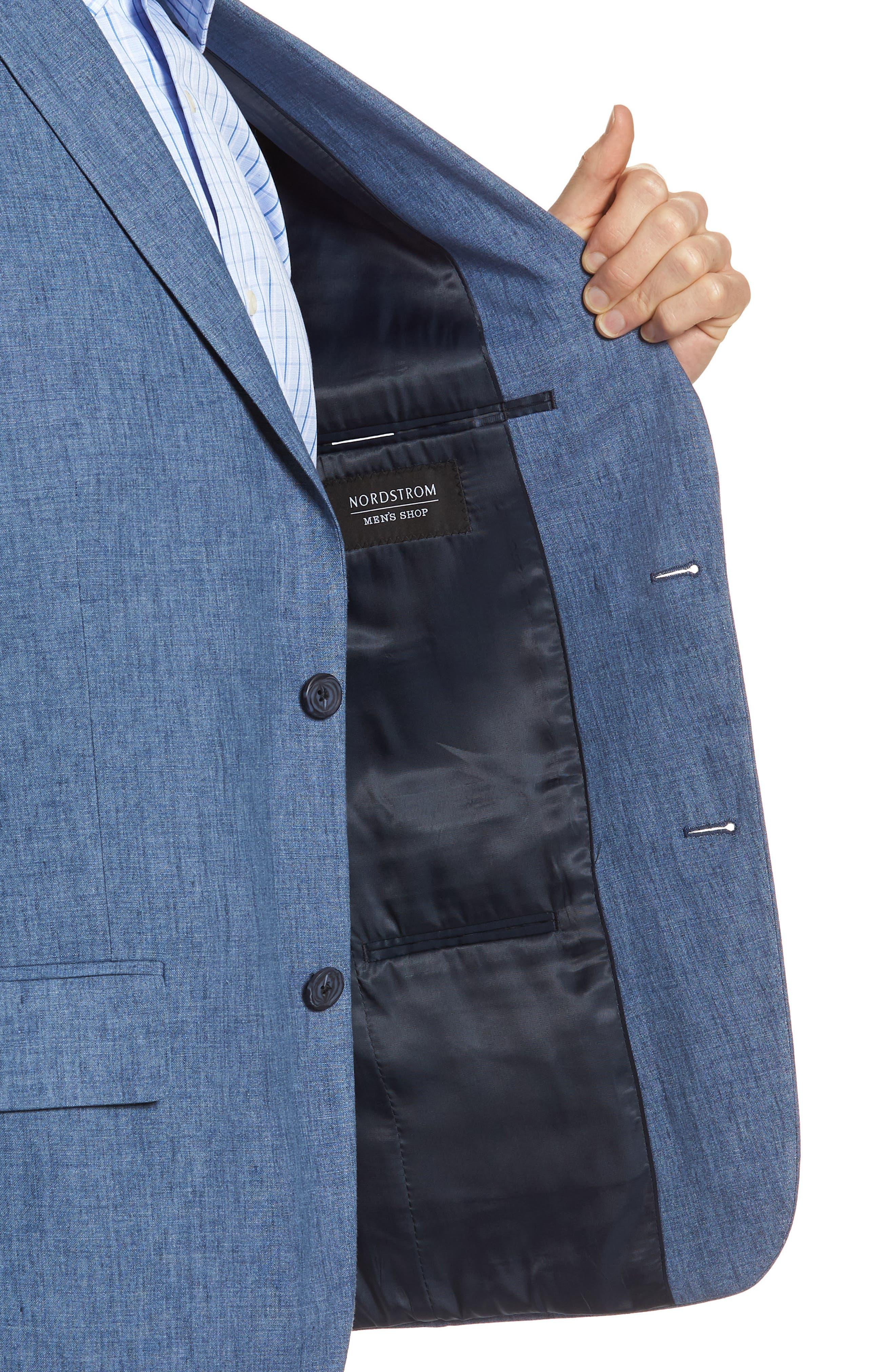 Trim Fit Linen Blazer,                             Alternate thumbnail 4, color,                             Blue Denim