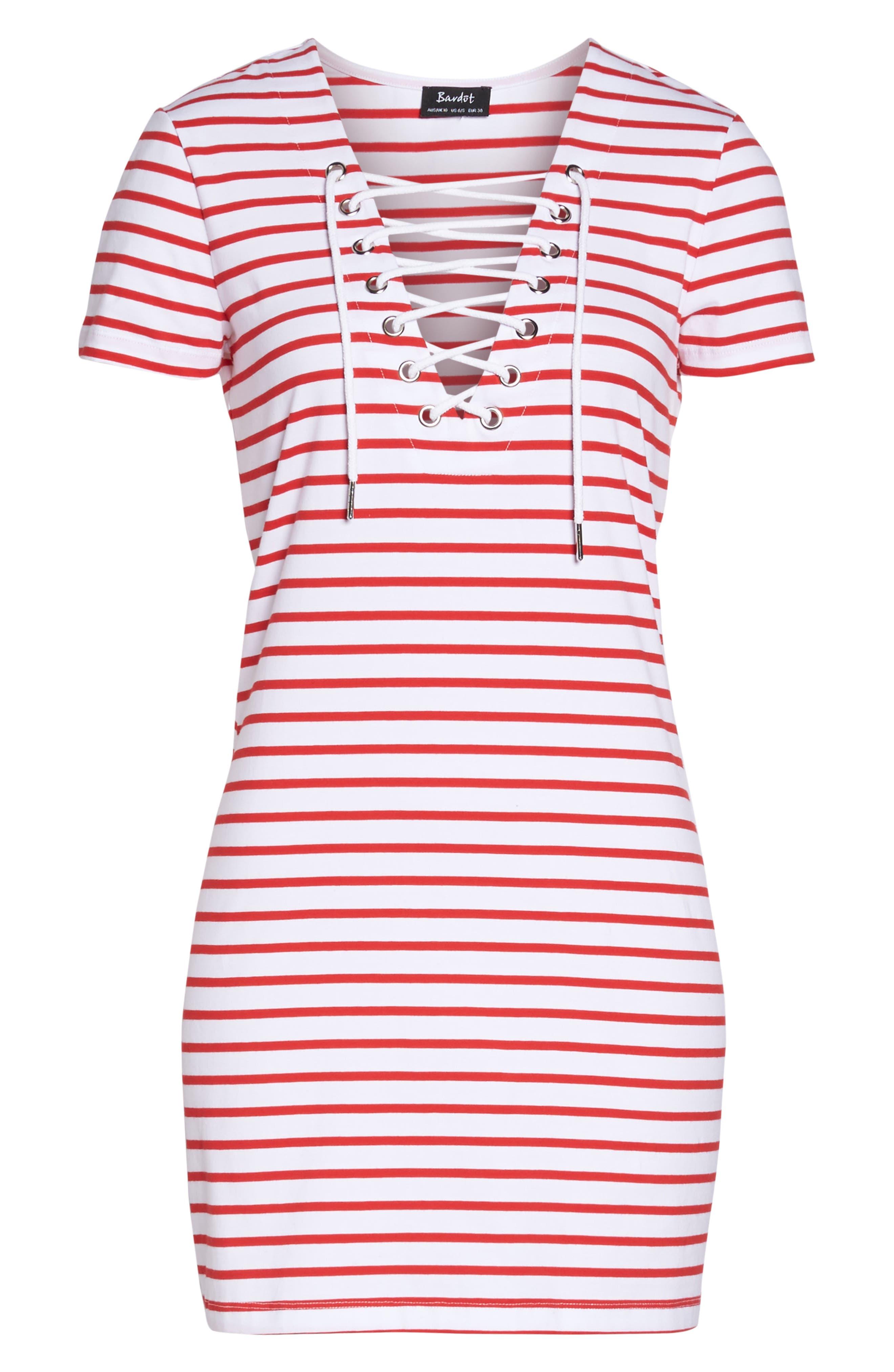 Stripe Shift Dress,                             Alternate thumbnail 9, color,                             Red Stripe