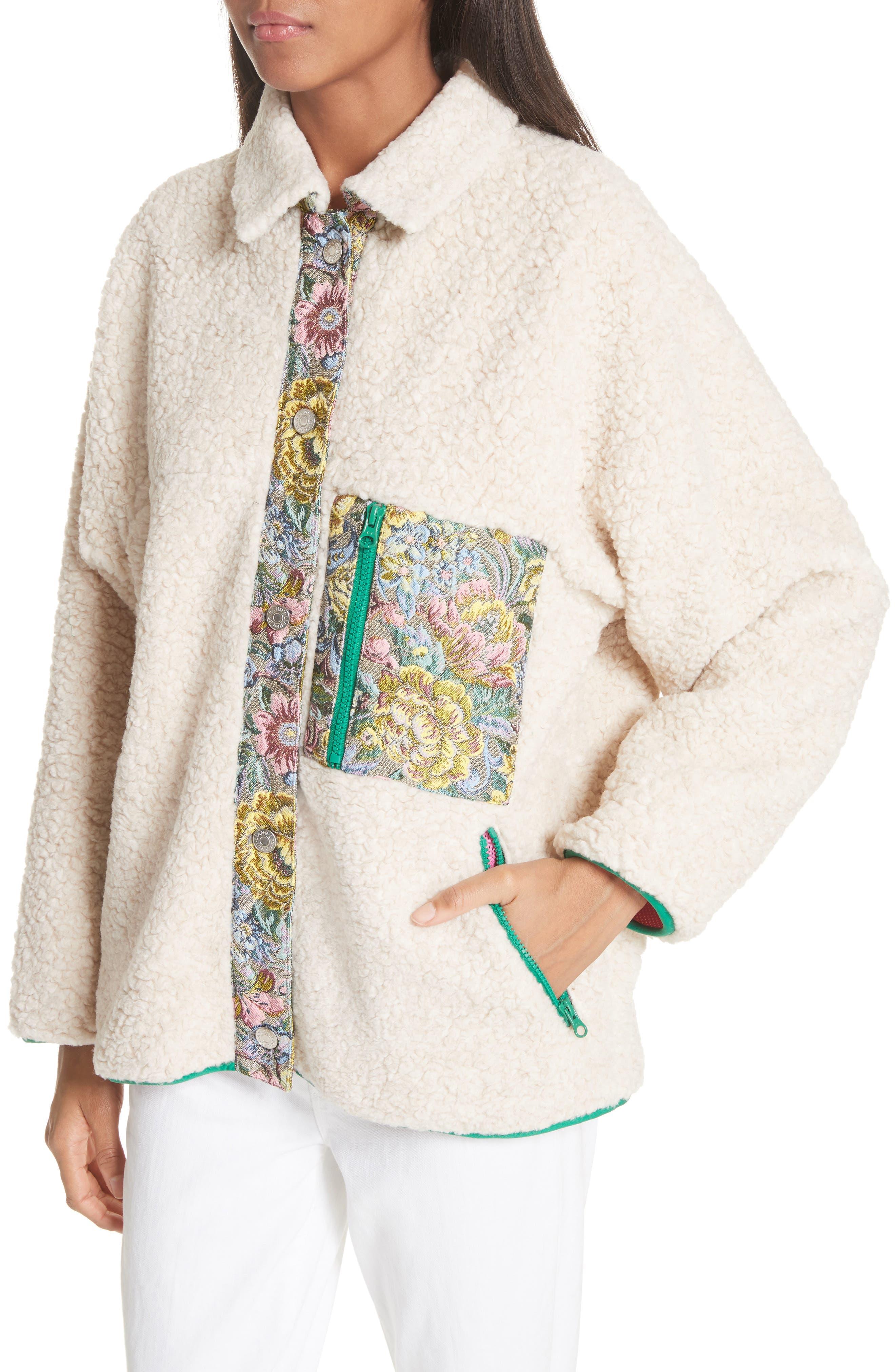 Bayside Floral Trim Fleece Jacket,                             Alternate thumbnail 4, color,                             Creamy