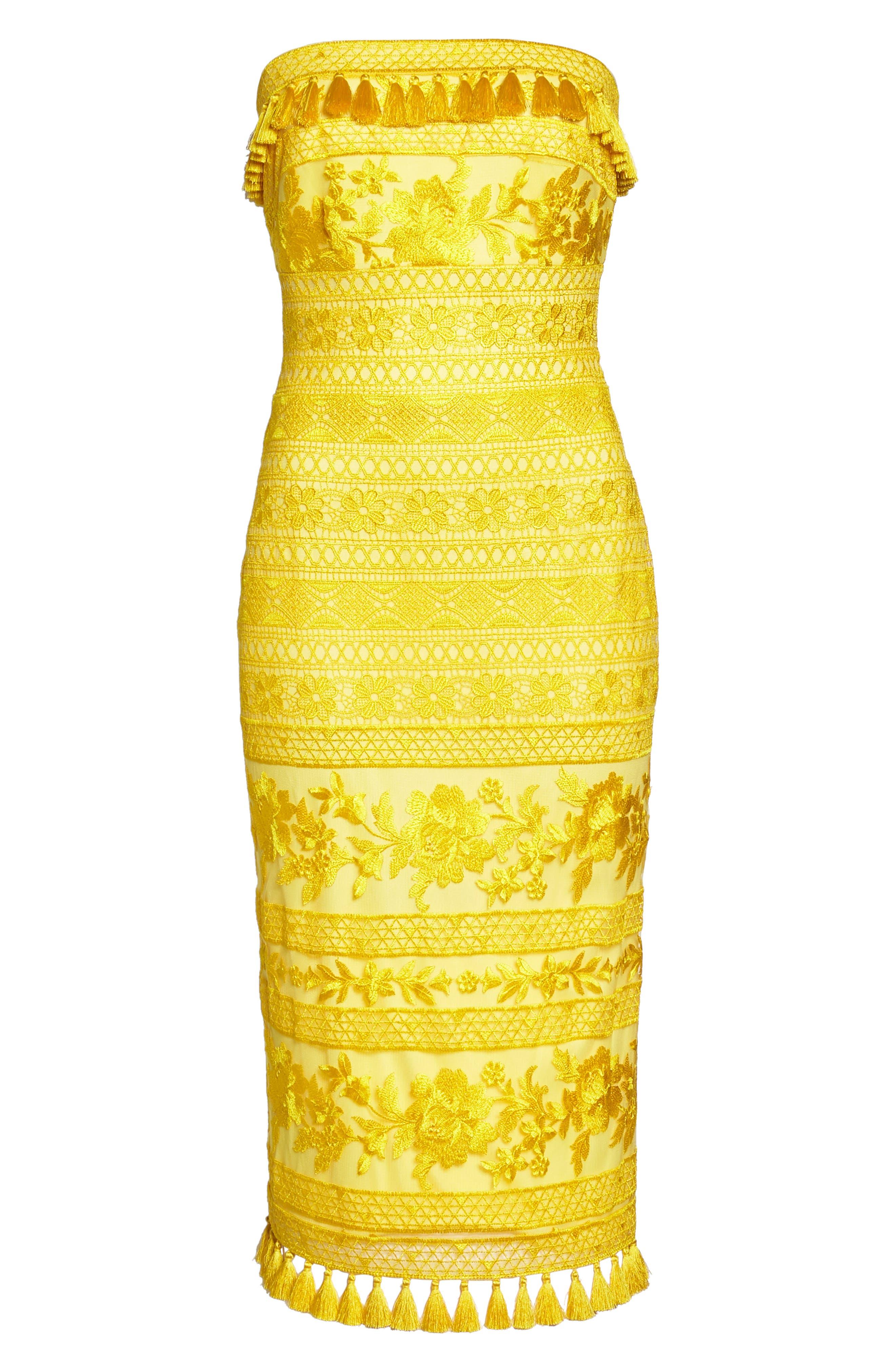 Sol Strapless Lace Midi Dress,                             Alternate thumbnail 6, color,                             Yellow Opal