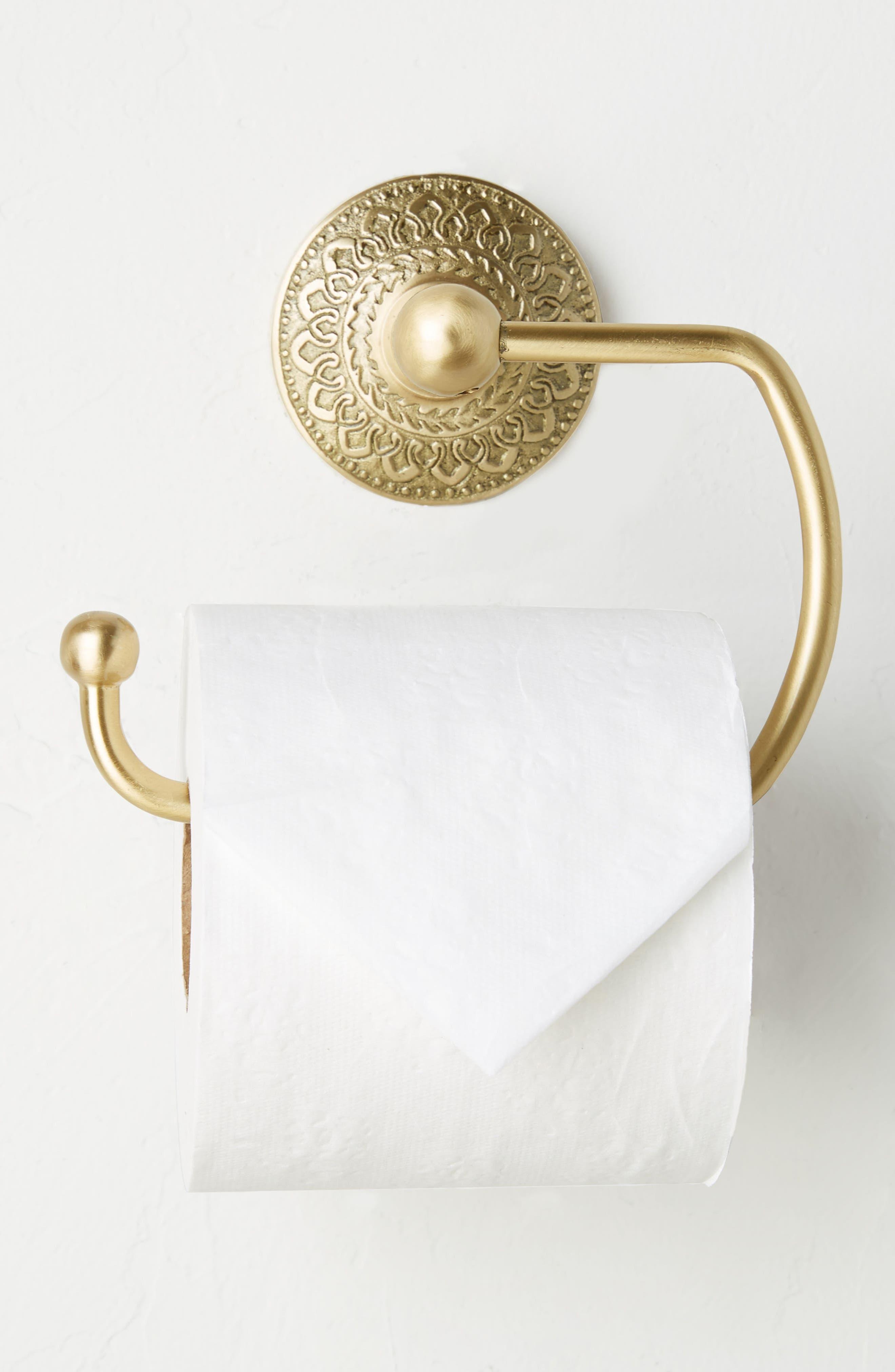 Brass Medallion Toilet Paper Holder,                         Main,                         color, Honey