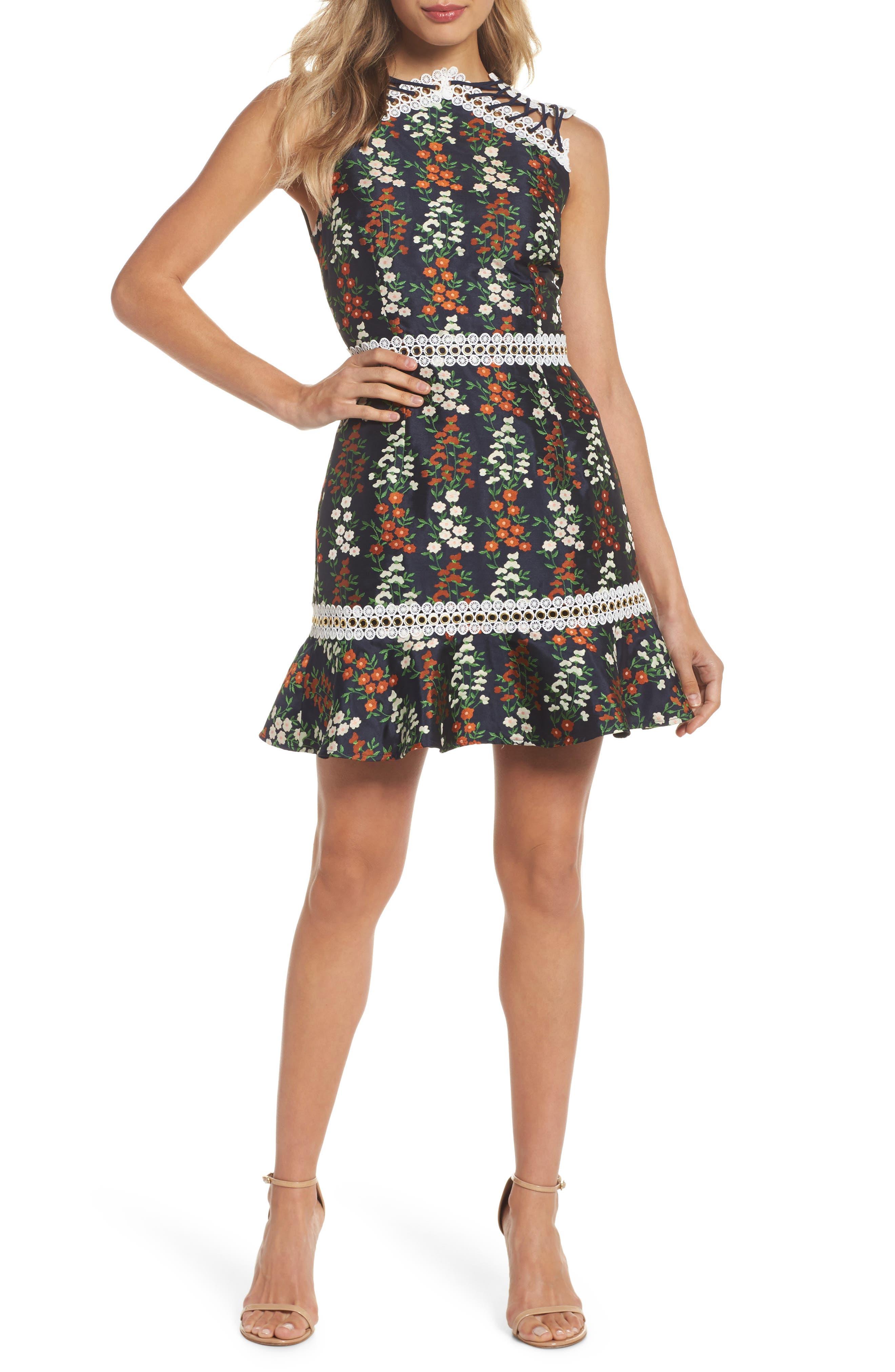 Keepsake the Label Faithful Floral Lace-Up Shoulder Dress