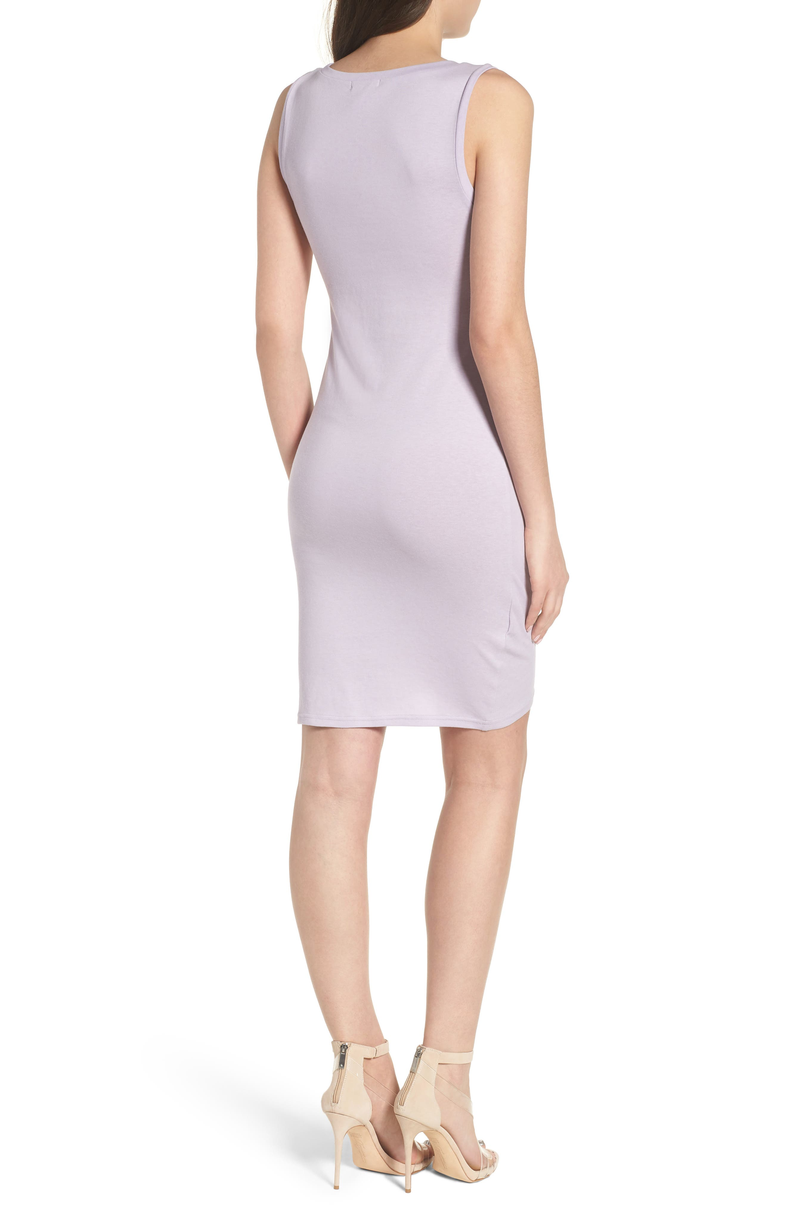 Ruched Body-Con Tank Dress,                             Alternate thumbnail 2, color,                             Purple Petal