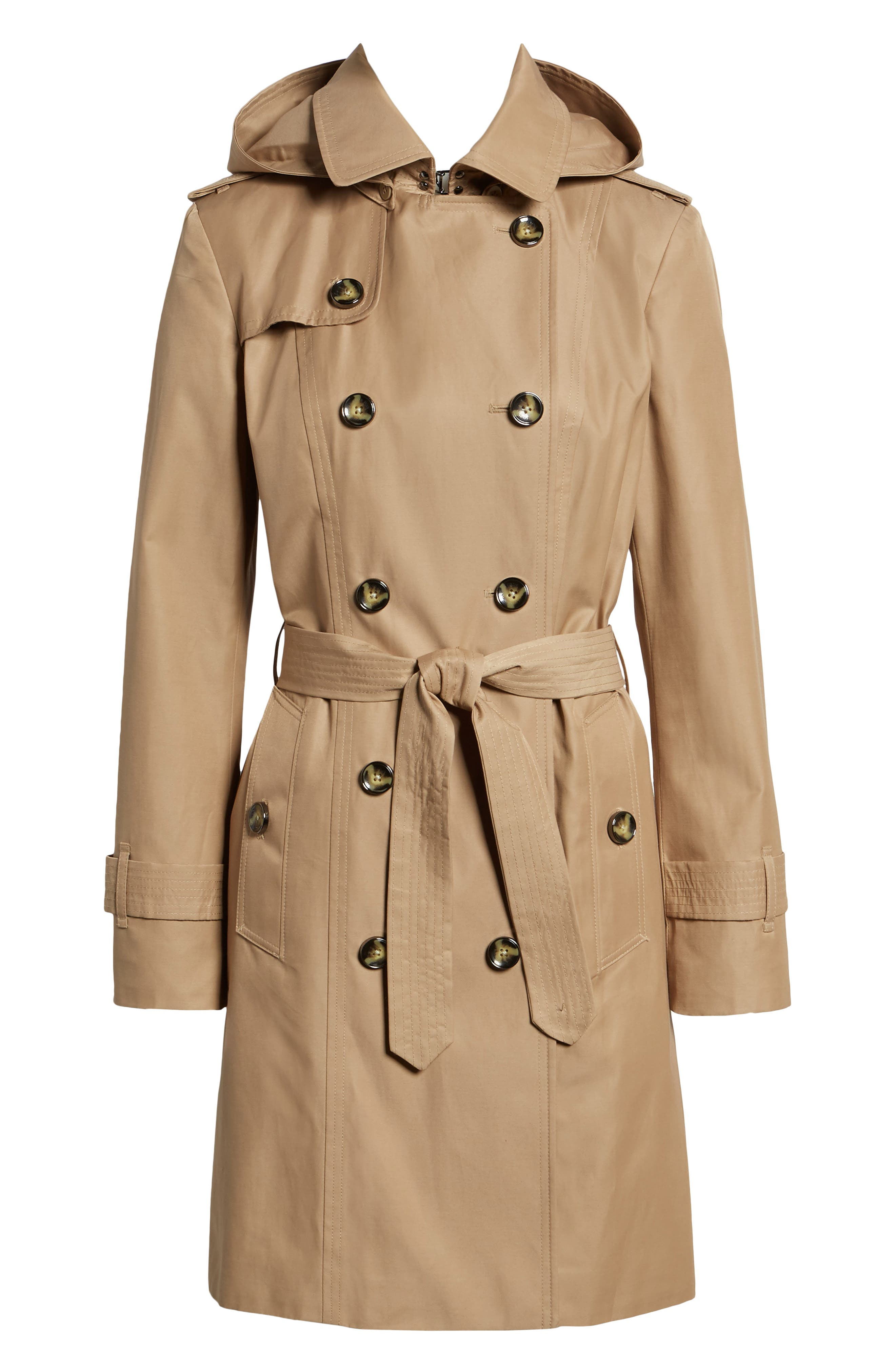 Double Breasted Trench Coat,                             Alternate thumbnail 7, color,                             Br Khaki