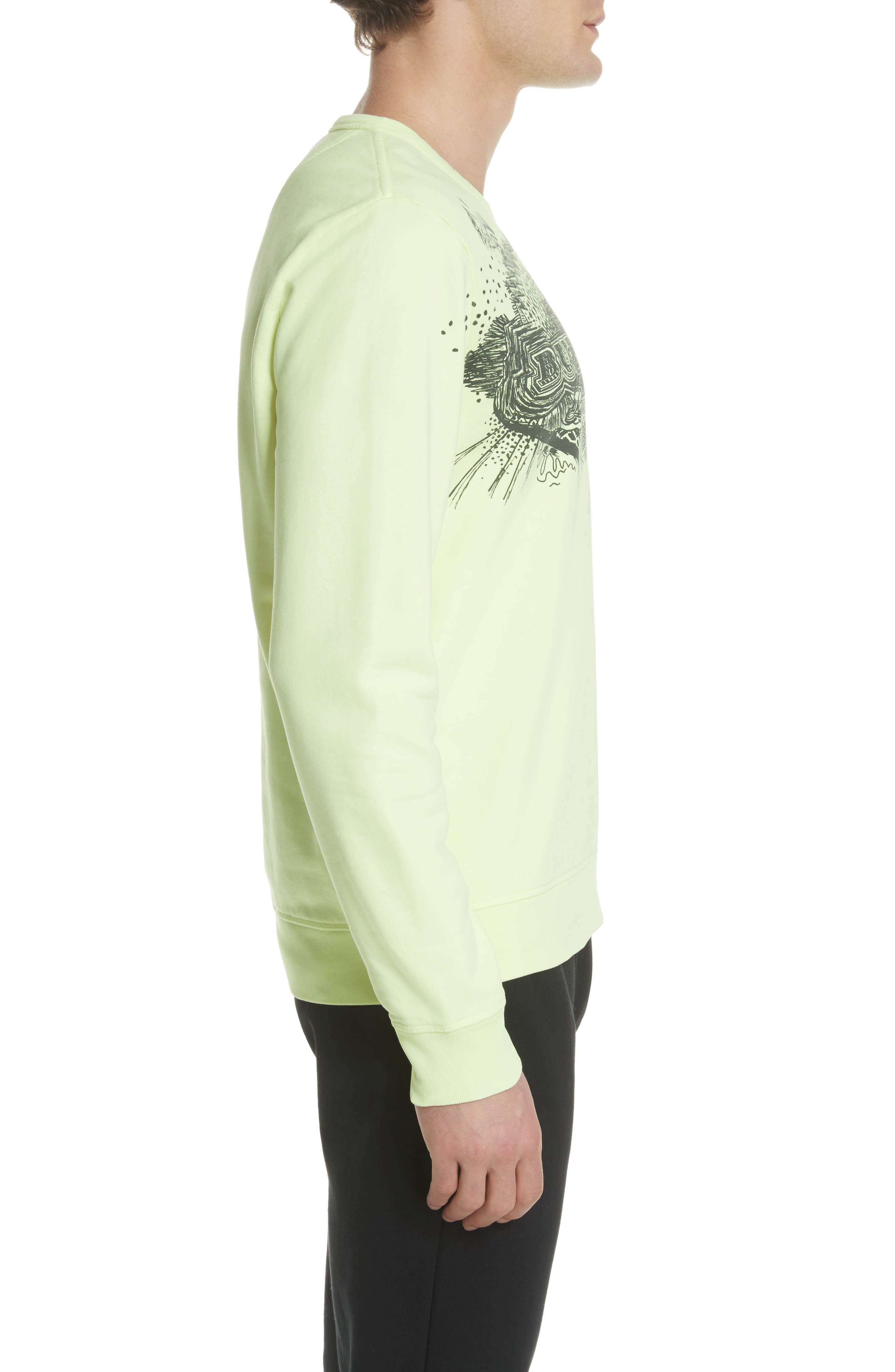 Sauer Graphic Crewneck Sweatshirt,                             Alternate thumbnail 3, color,                             Bright Lemon