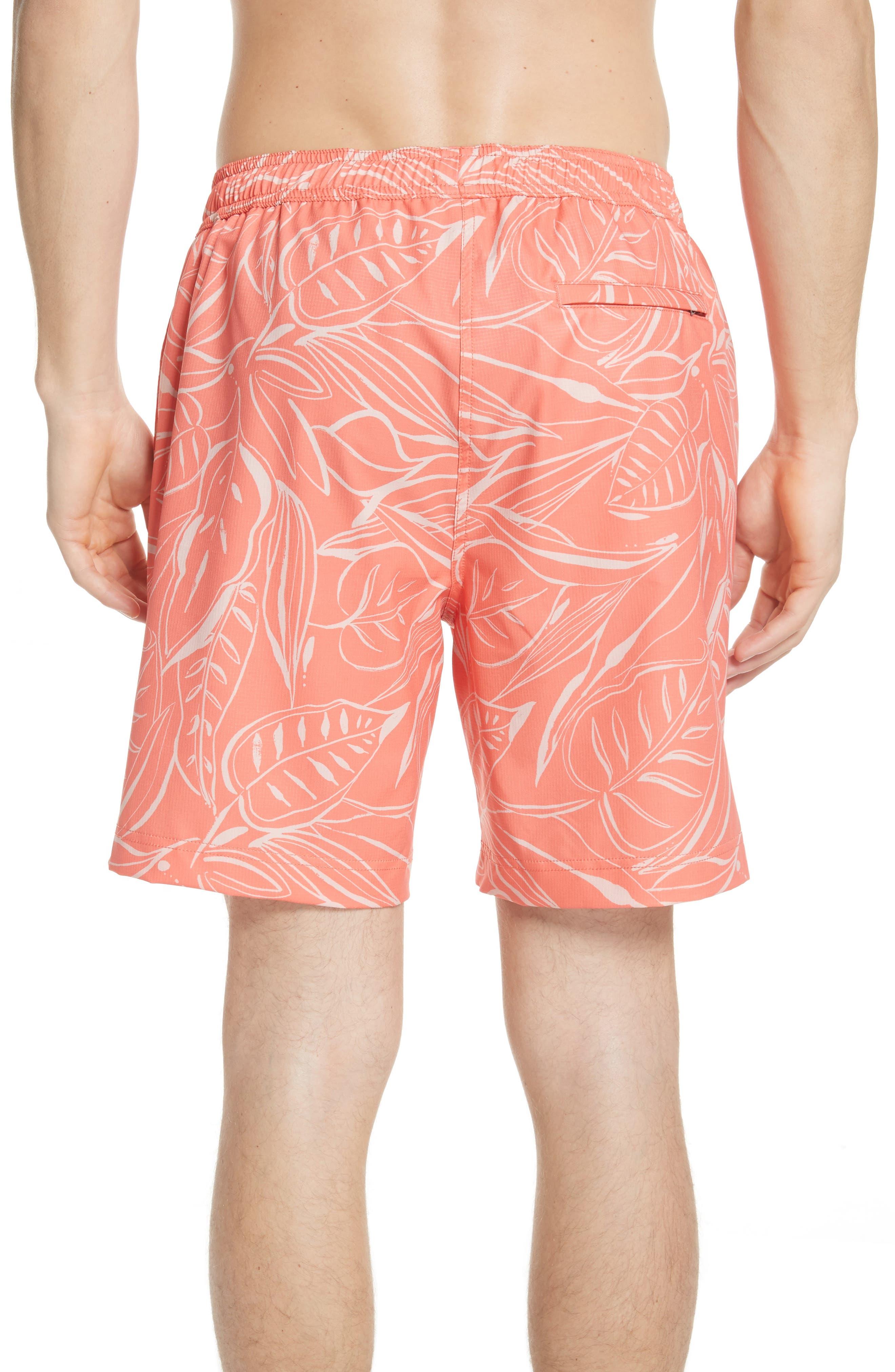 Charles Leaf Print Swim Trunks,                             Alternate thumbnail 2, color,                             Tangerine Coral
