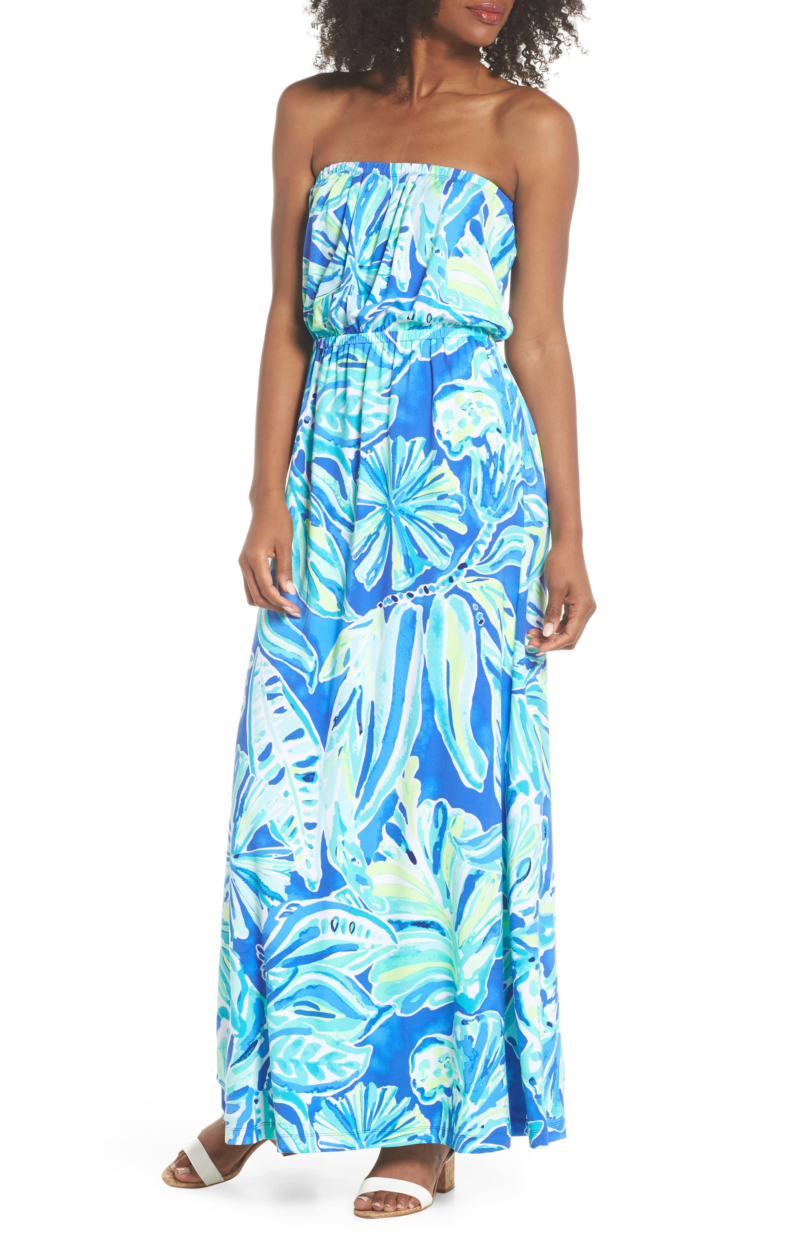 Marlisa Strapless Maxi Dress,                         Main,                         color, Beckon Blue Palm Passage