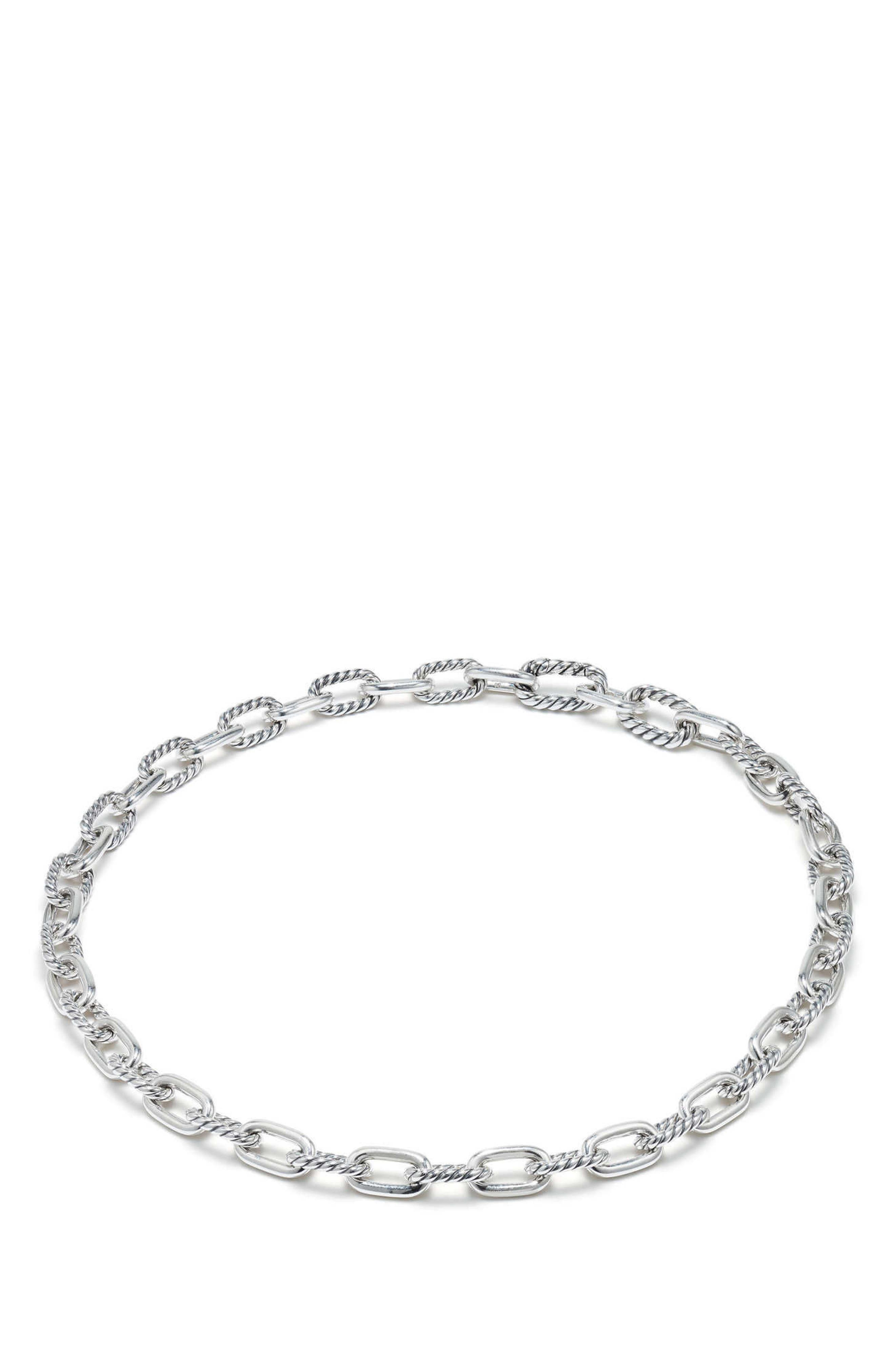 DY Madison Small Chain Necklace,                         Main,                         color, Silver