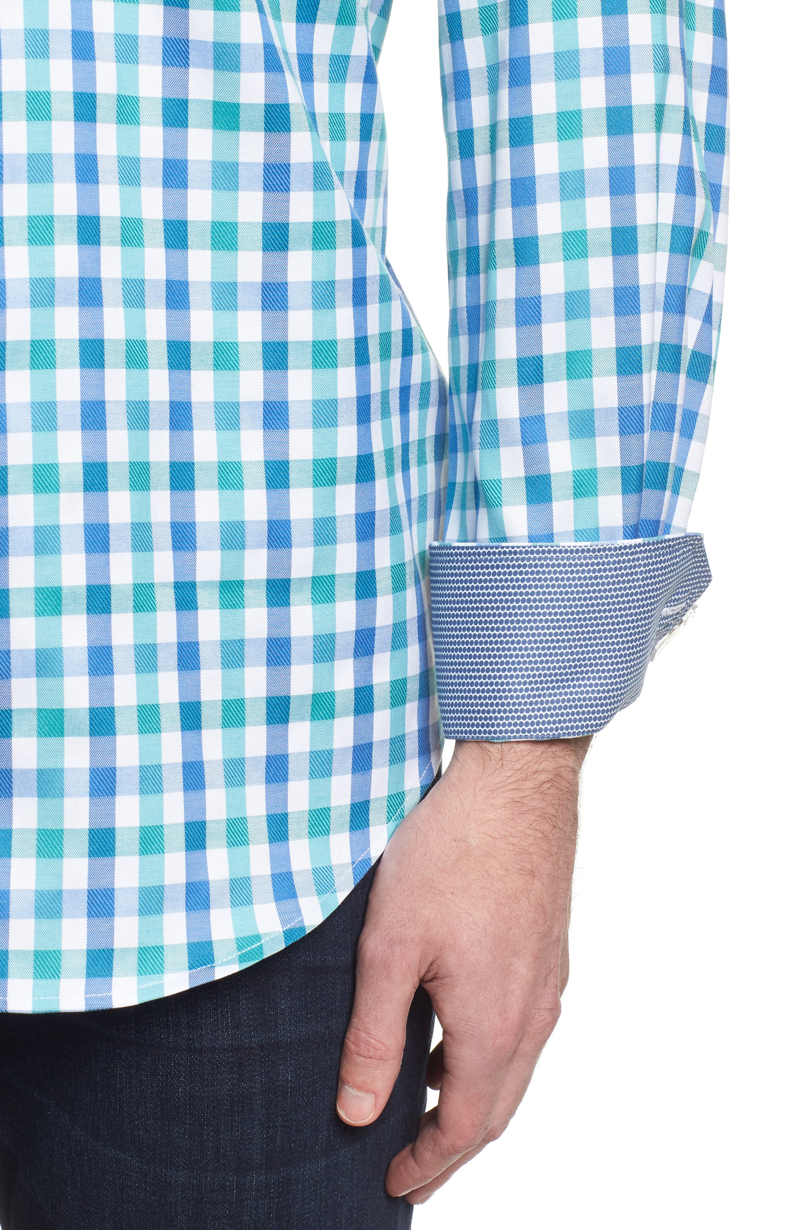 Classic Fit Gingham Check Sport Shirt,                             Alternate thumbnail 4, color,                             Emerald