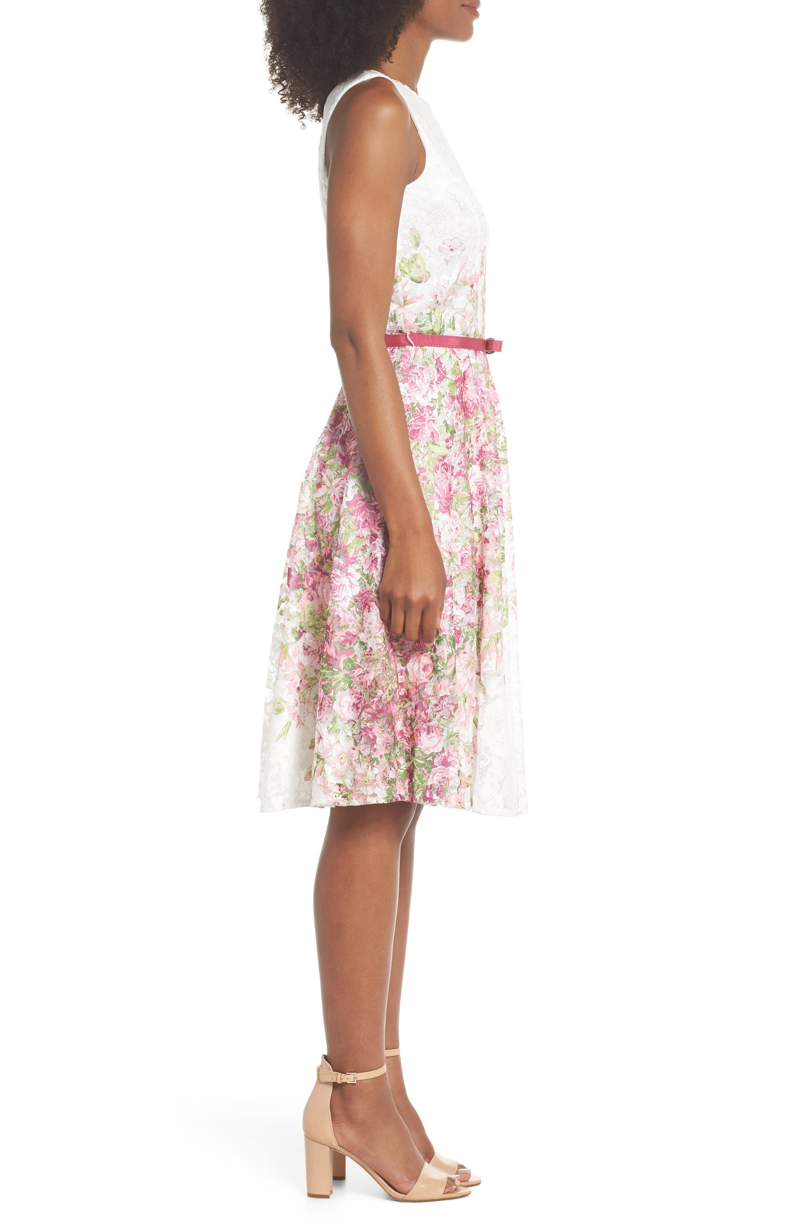 Belted Floral Lace Fit & Flare Dress,                             Alternate thumbnail 3, color,                             Pink Multi