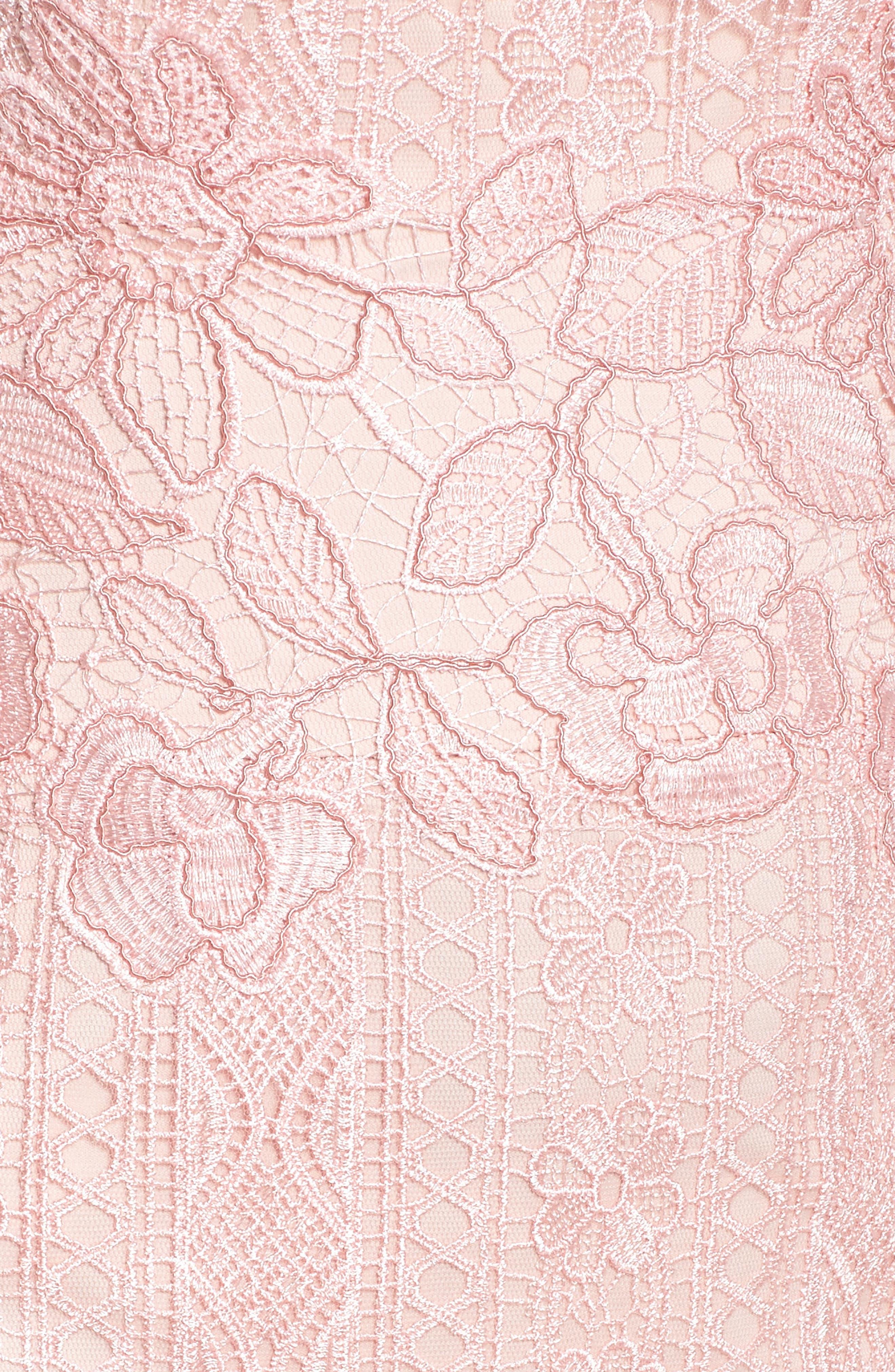 Alice Flounce Hem Lace Dress,                             Alternate thumbnail 5, color,                             Rose Quartz
