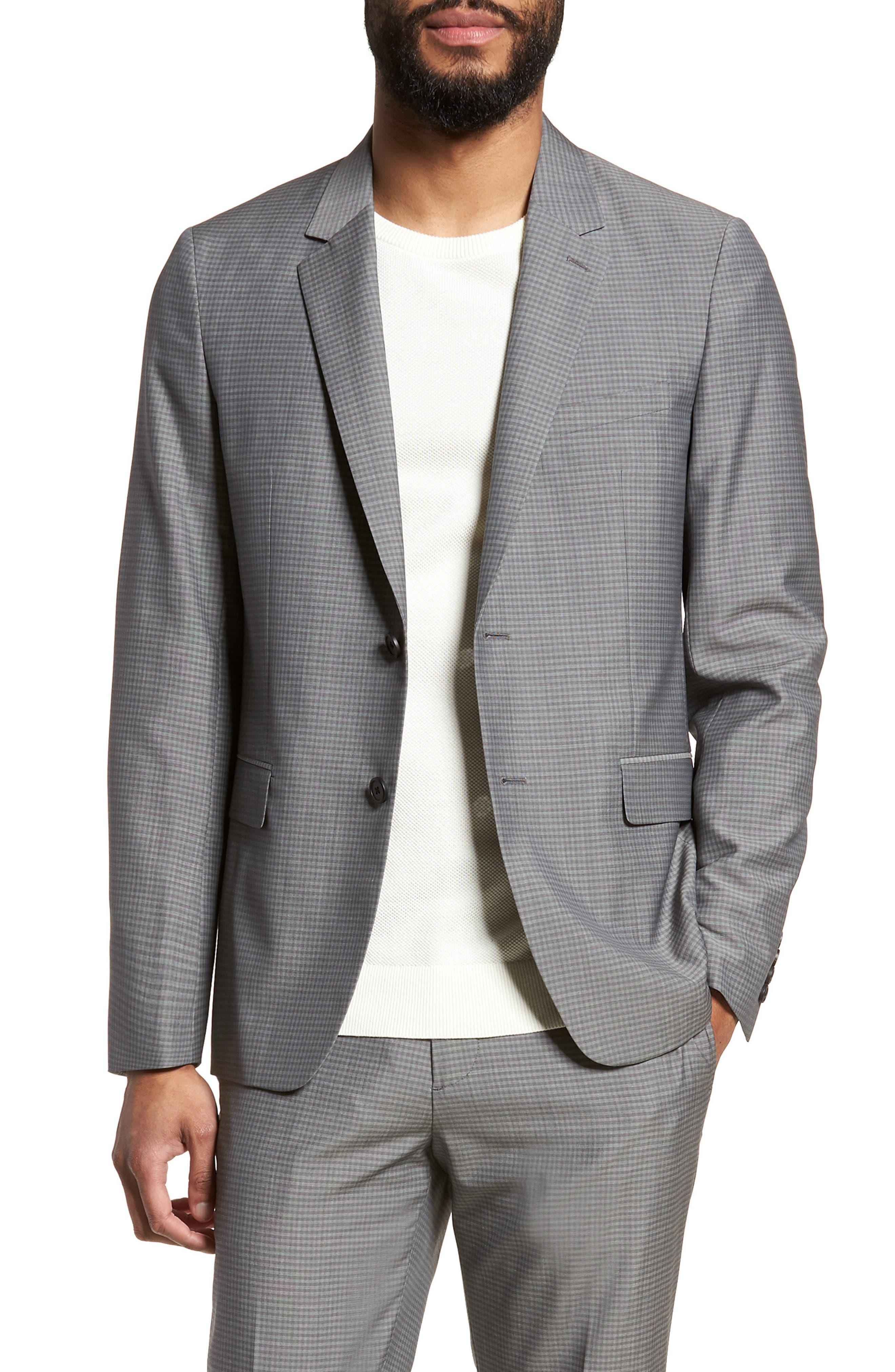 Gansevoort Trim Fit Check Wool Sport Coat,                         Main,                         color, Dove Multi