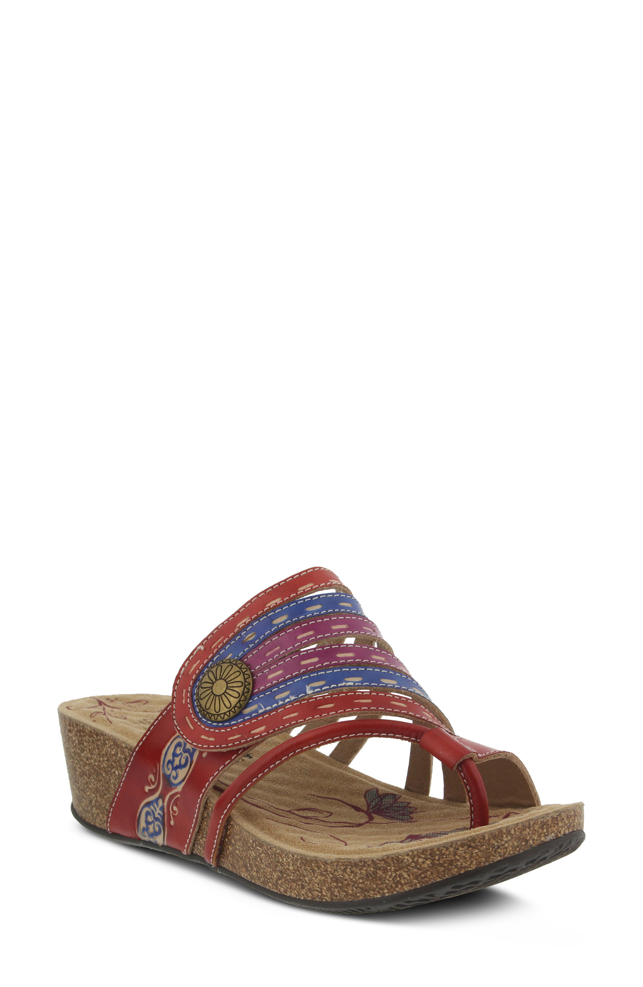 L'Artiste Claudia Wedge Sandal,                             Main thumbnail 1, color,                             Red Leather