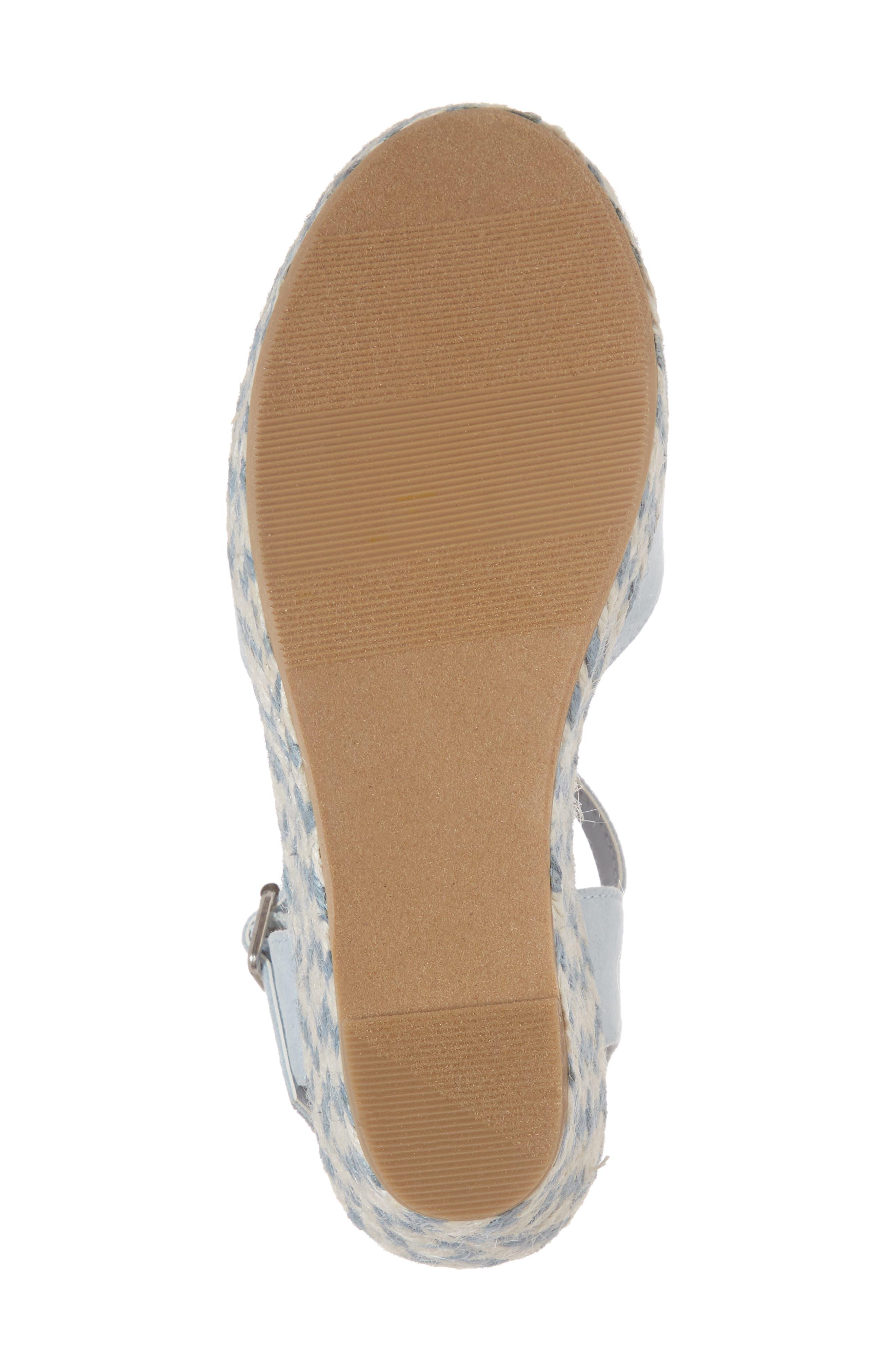 Wendy Espadrille Wedge Sandal,                             Alternate thumbnail 6, color,                             Light Blue