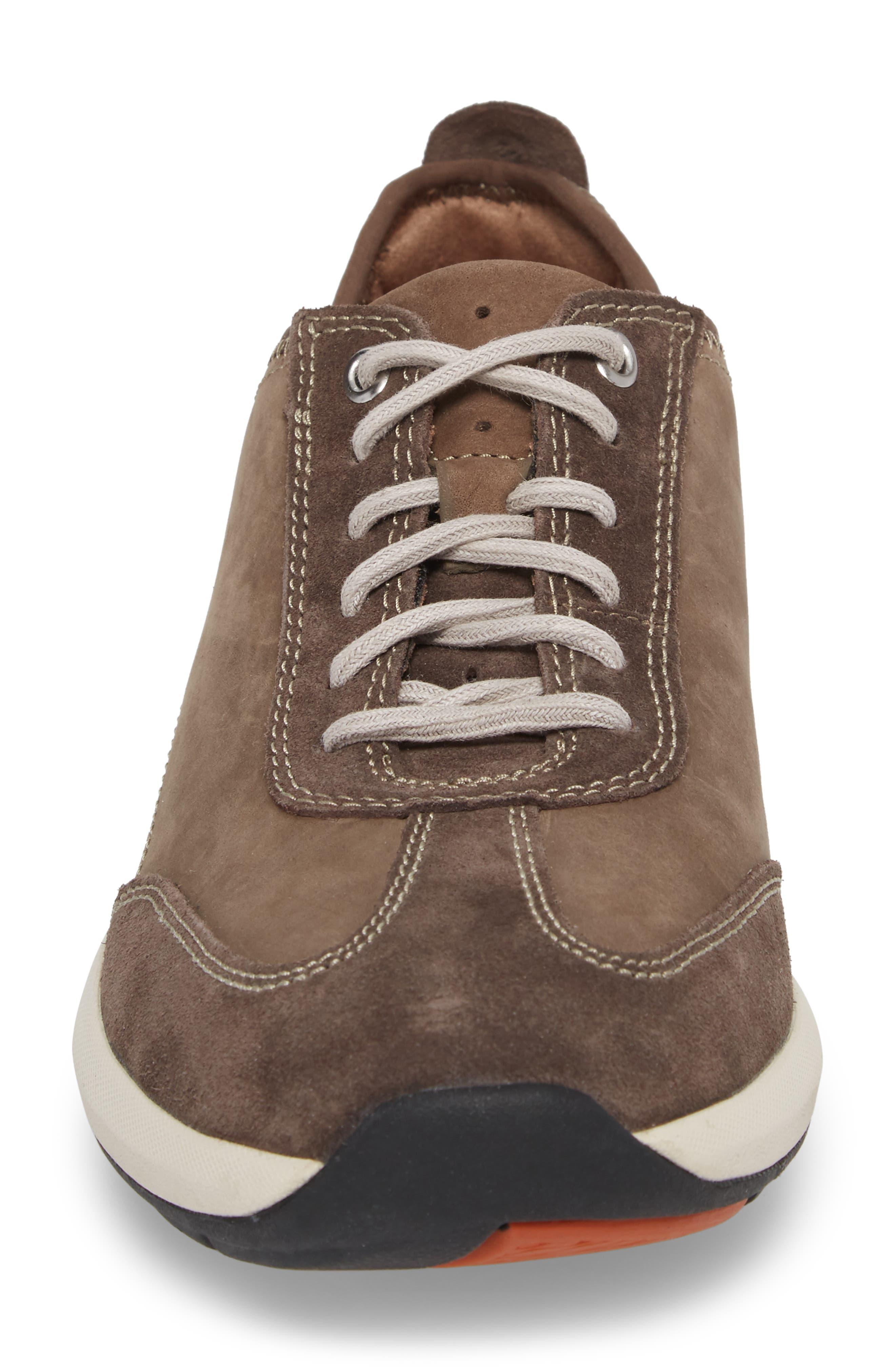 Clarks<sup>®</sup> Un Coast Low Top Sneaker,                             Alternate thumbnail 4, color,                             Taupe Nubuck