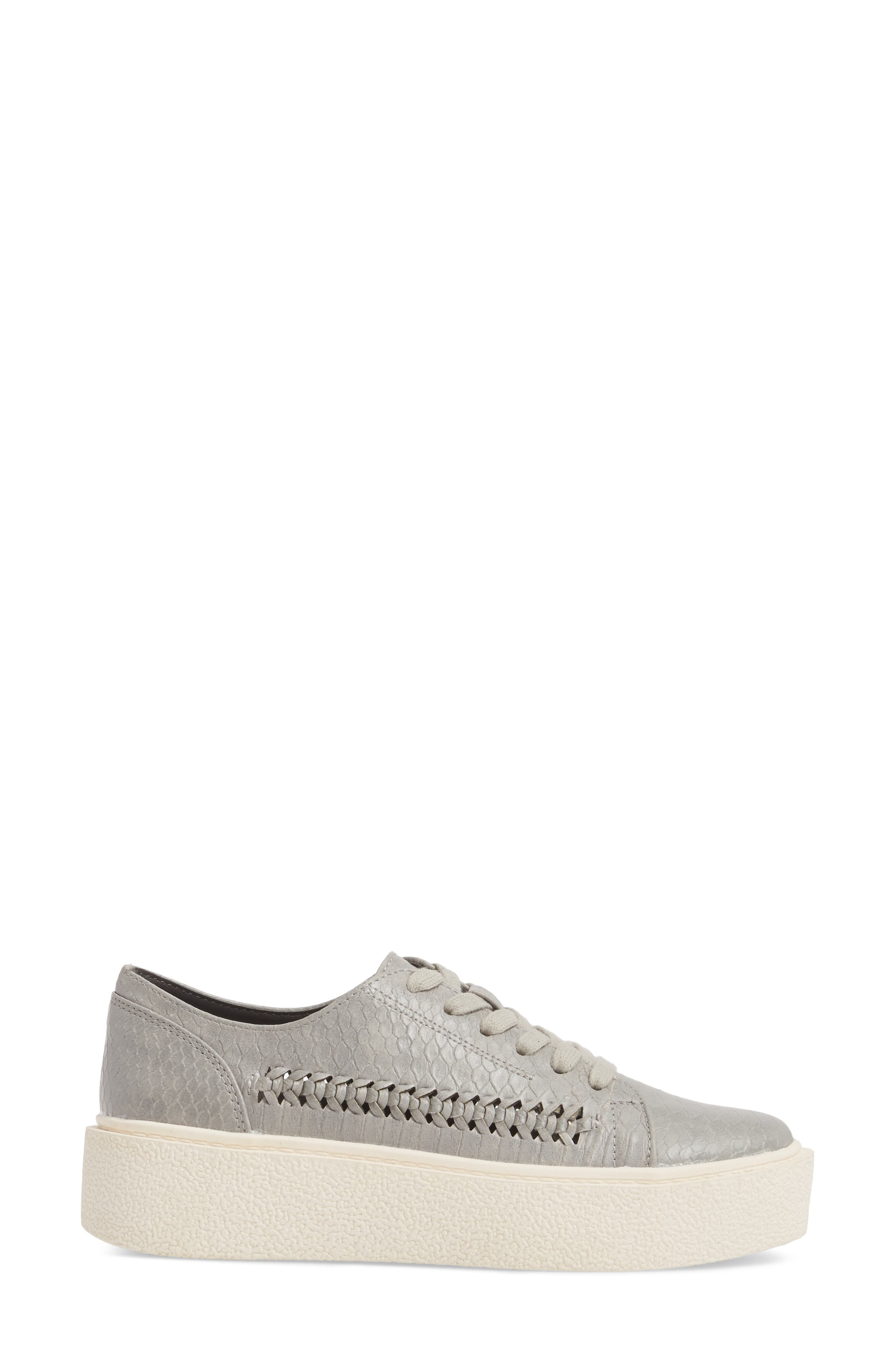 White Out Platform Sneaker,                             Alternate thumbnail 3, color,                             Grey Fabric