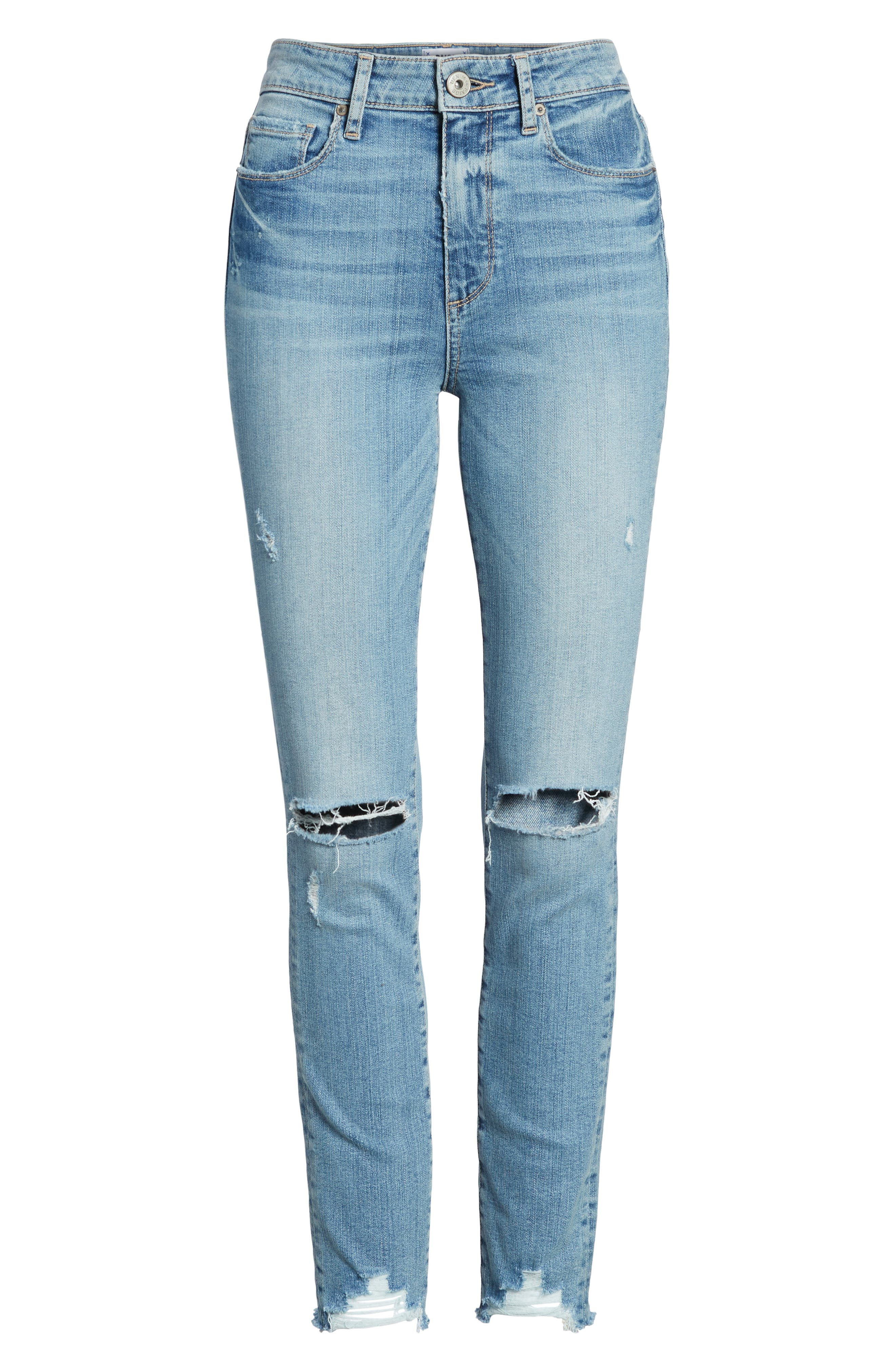 Hoxton High Waist Ankle Skinny Jeans,                             Alternate thumbnail 6, color,                             Janis Destructed