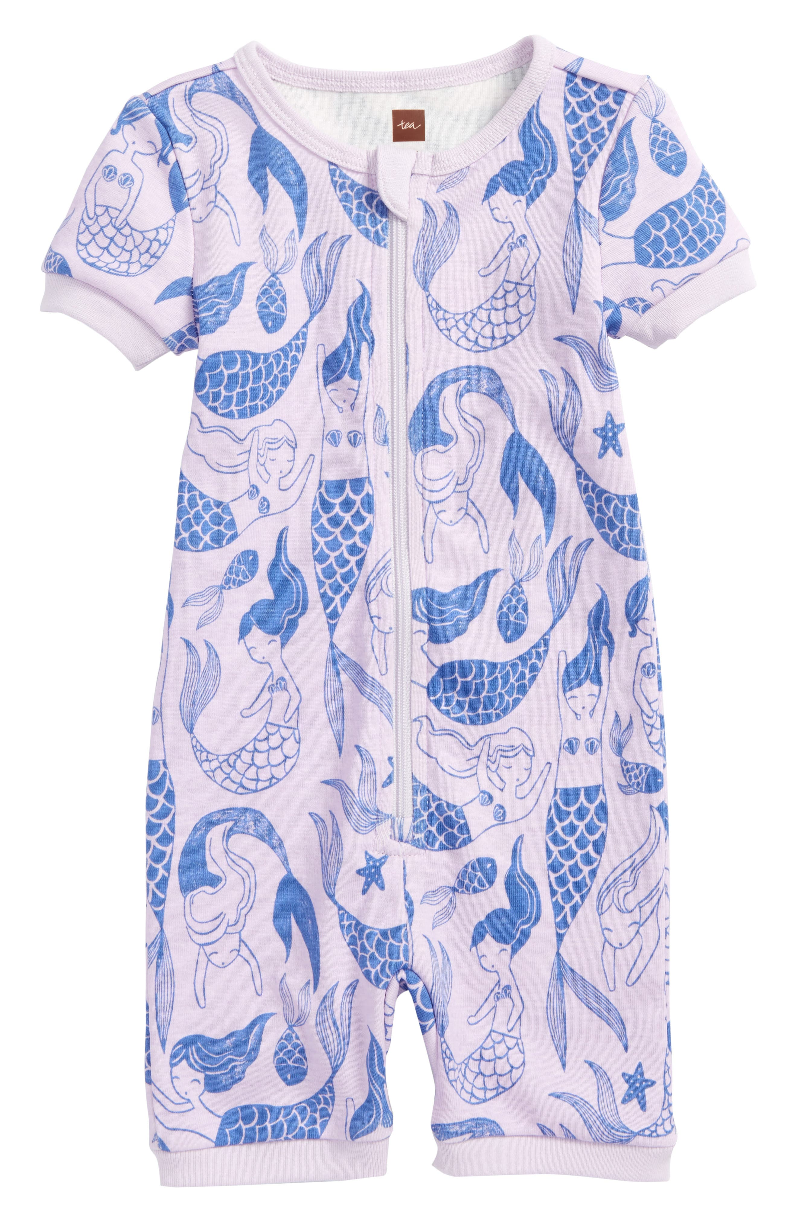 Short Sleeve Fitted One-Piece Pajamas,                         Main,                         color, Mermaids