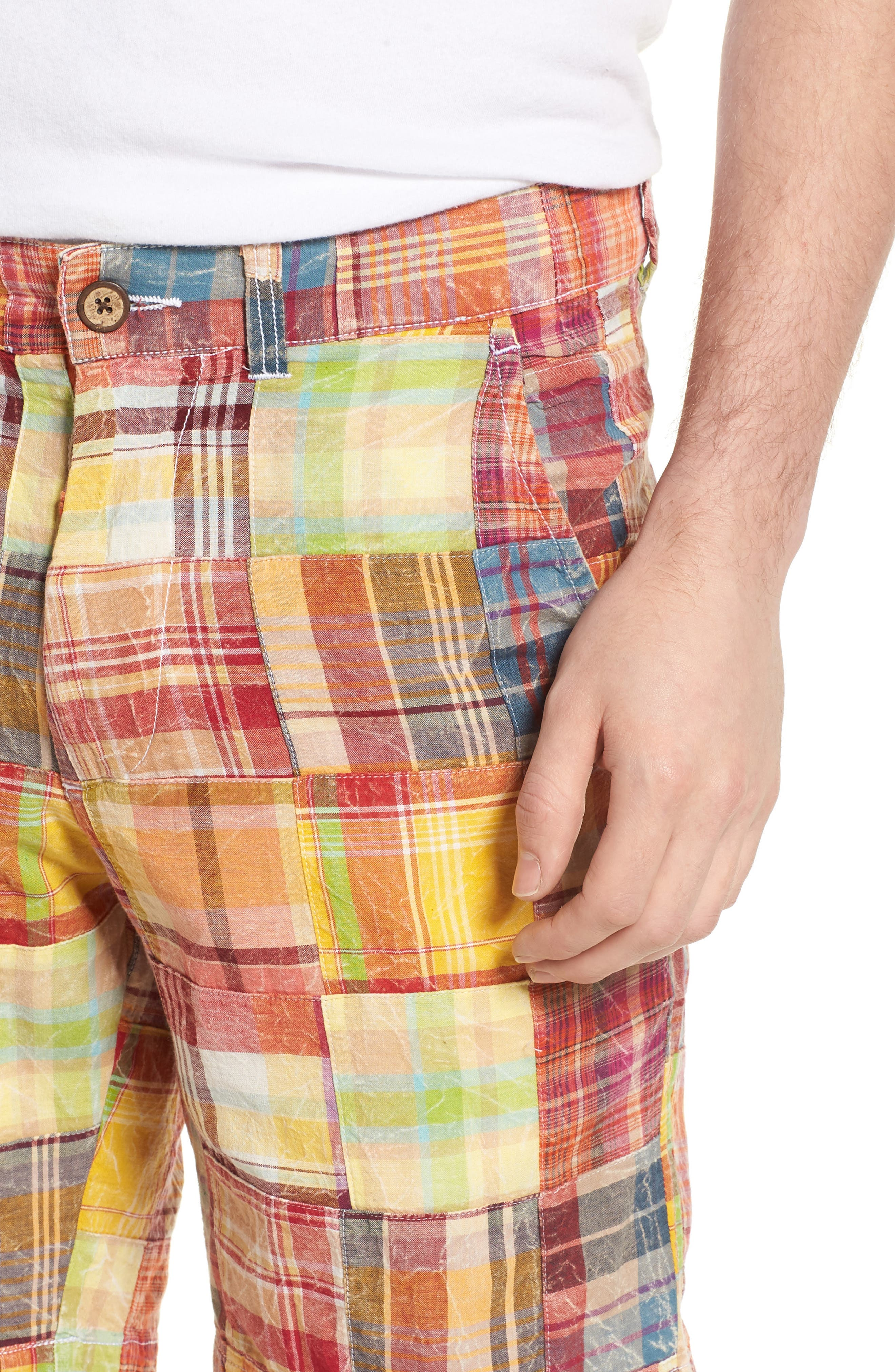 Acid Wash Plaid Patchwork Shorts,                             Alternate thumbnail 4, color,                             Orange