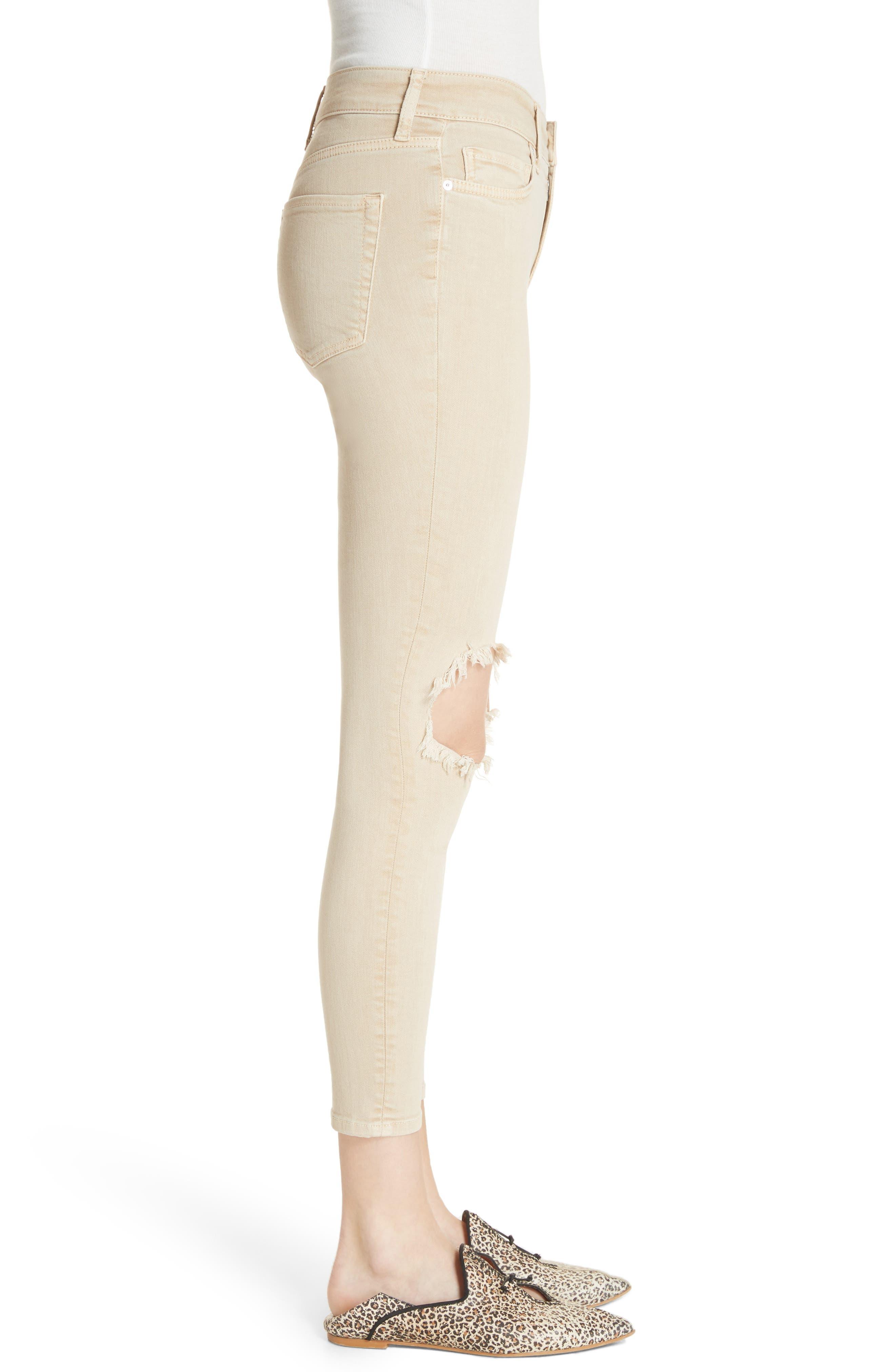 High Waist Busted Knee Skinny Jeans,                             Alternate thumbnail 3, color,                             Khaki