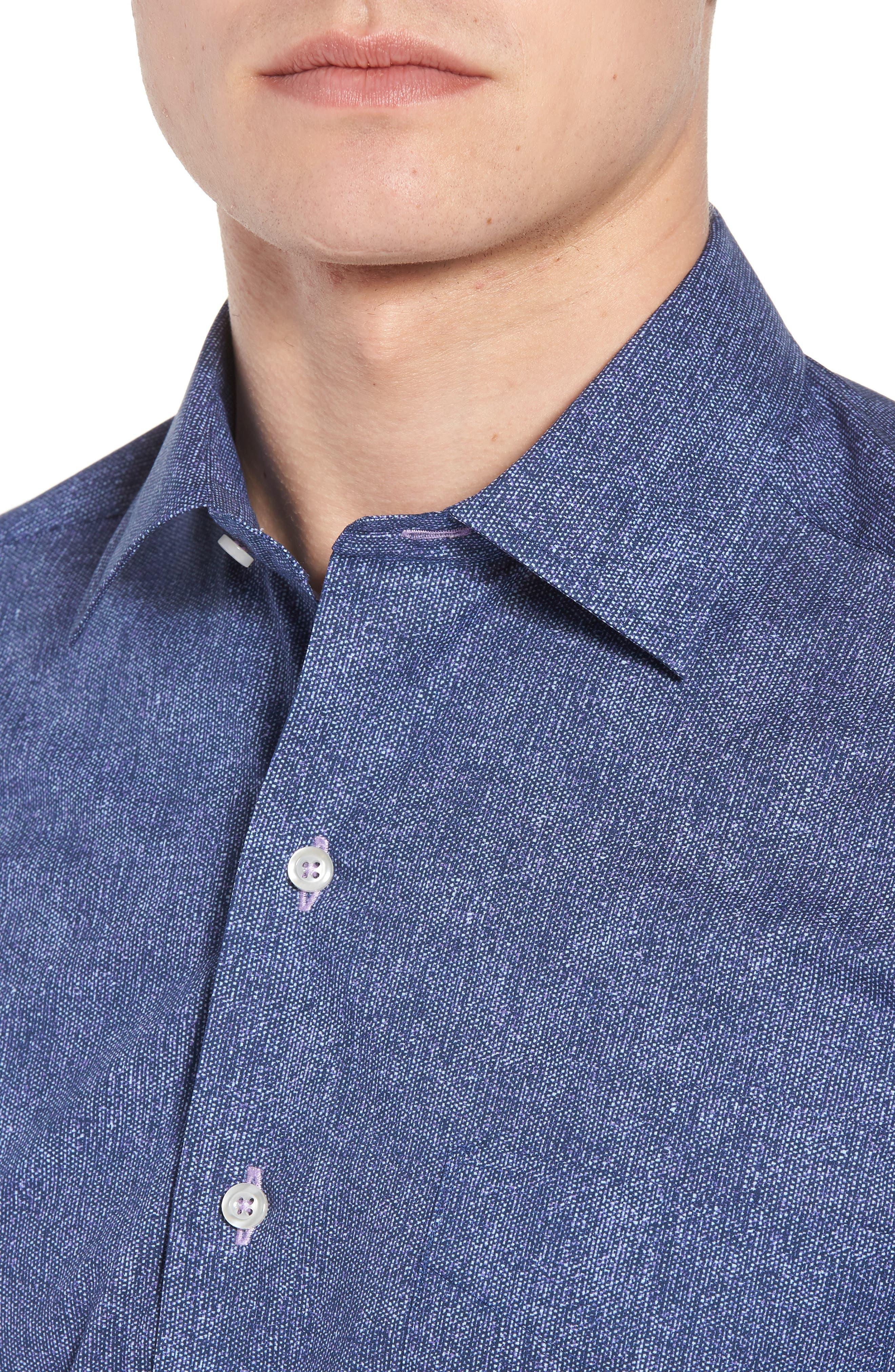 Regular Fit Microprint Sport Shirt,                             Alternate thumbnail 4, color,                             Navy/ Purple