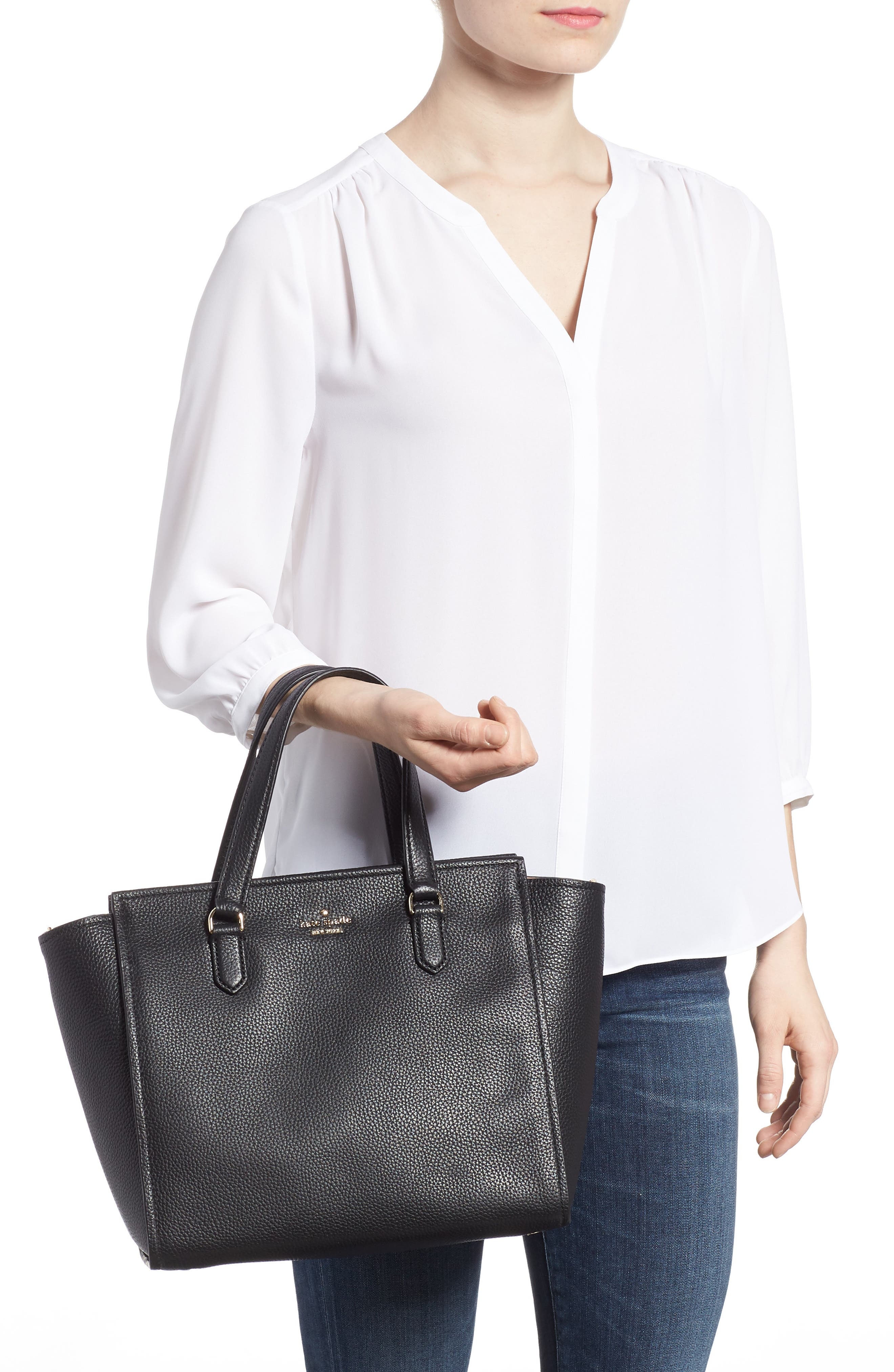 trent hill - hayden leather satchel,                             Alternate thumbnail 2, color,                             Black