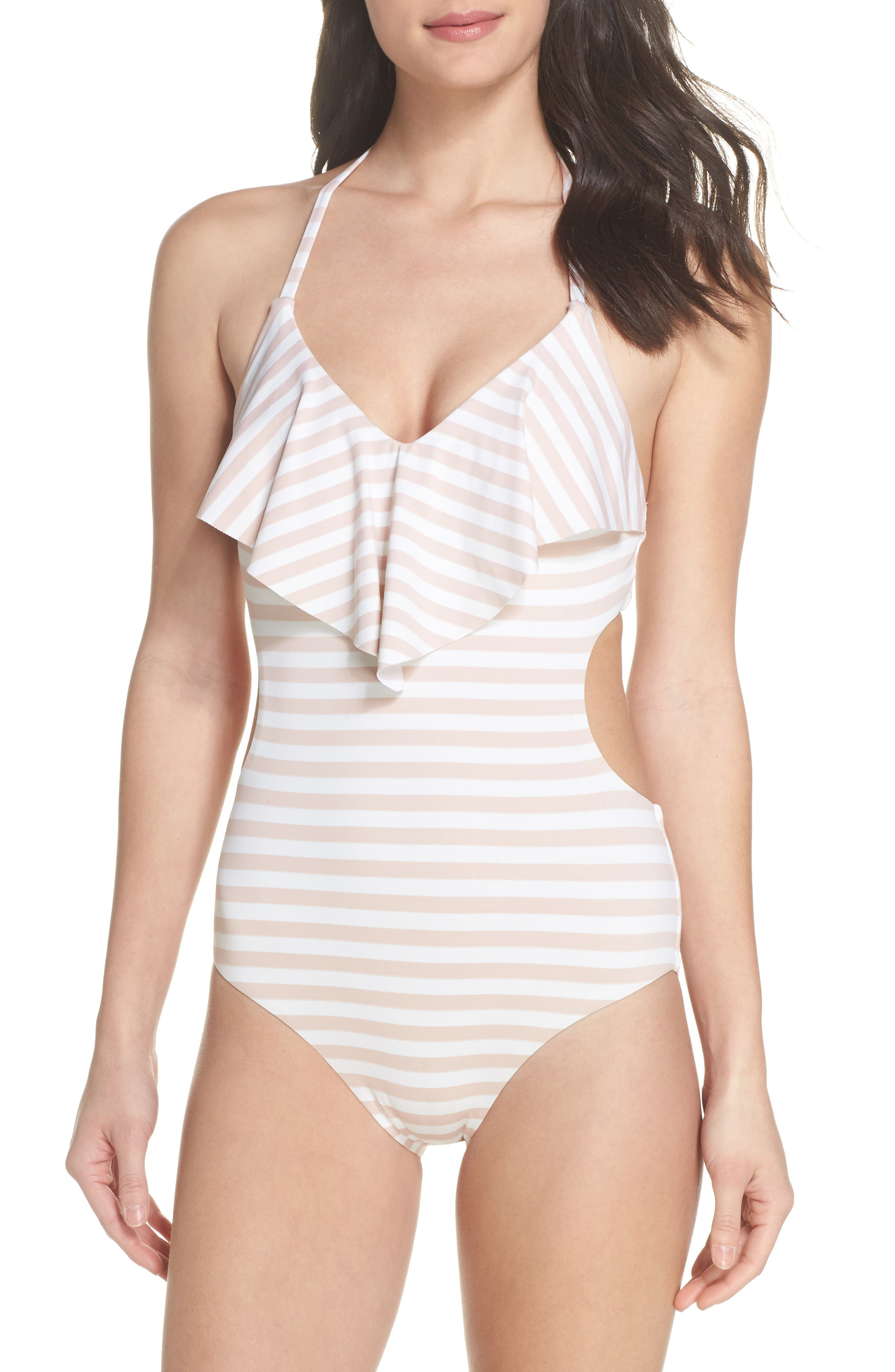 Ruffle One-Piece Swimsuit,                             Main thumbnail 1, color,                             Pink Dust Stripe