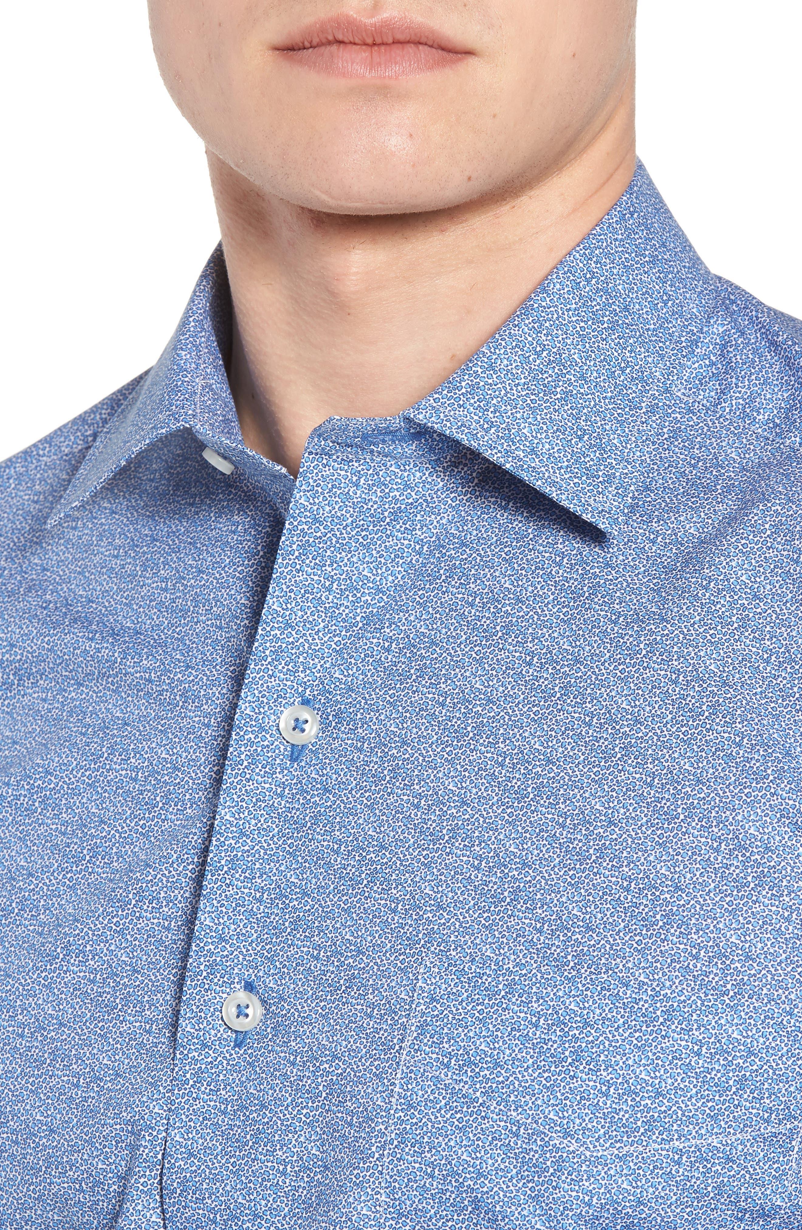Regular Fit Microprint Sport Shirt,                             Alternate thumbnail 4, color,                             Blue