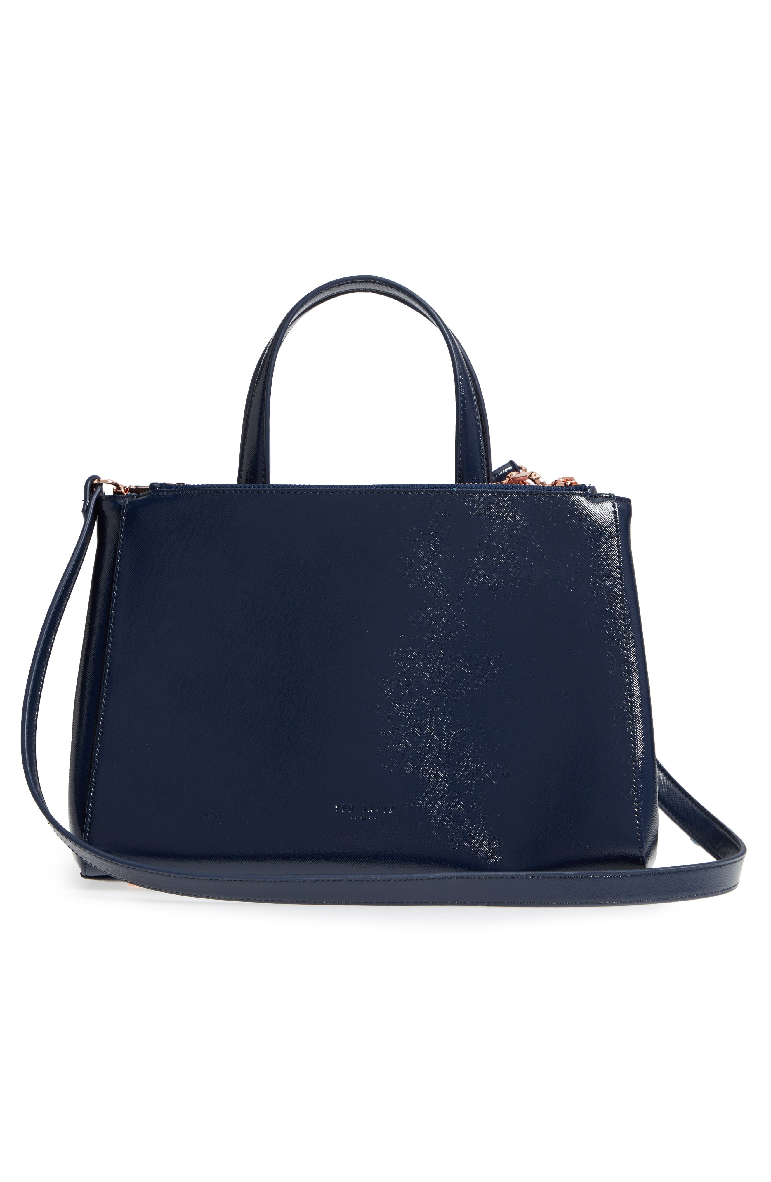 Peobe Chatsworth Bloom Faux Leather Satchel,                             Alternate thumbnail 3, color,                             Navy