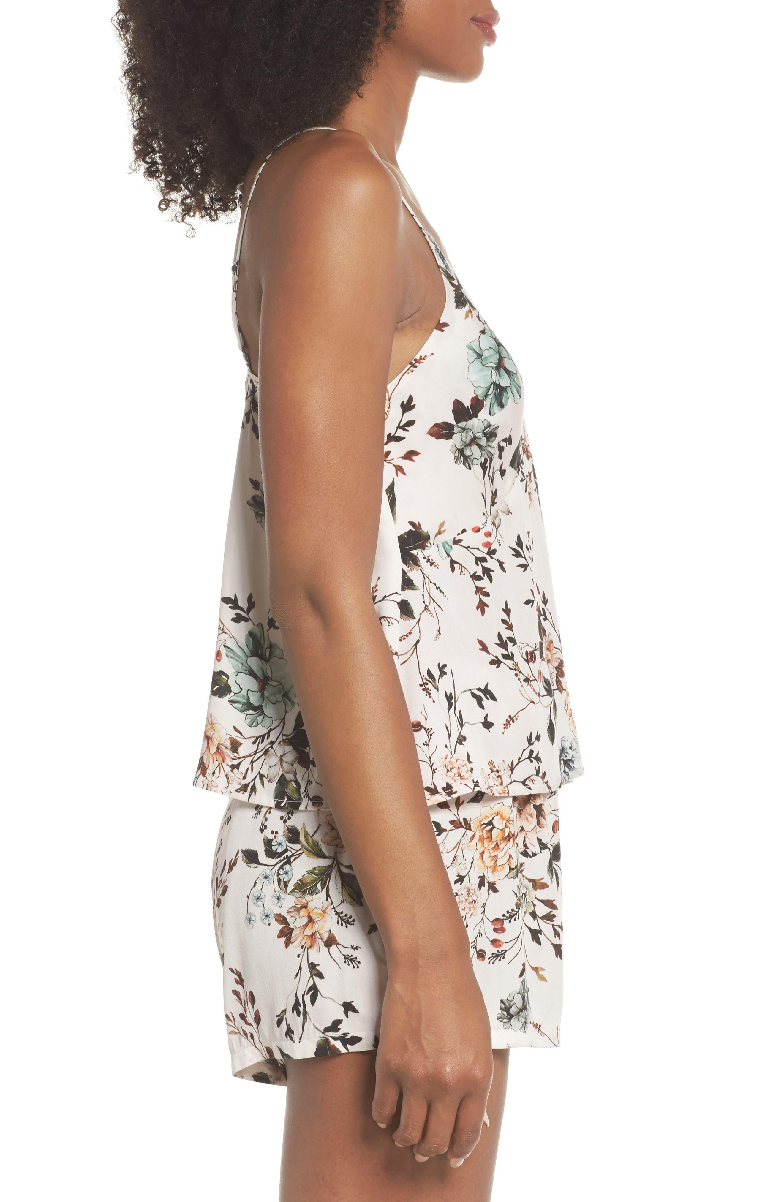 Floral Poppy Short & Camisole Pajamas,                             Alternate thumbnail 3, color,                             Cream Dusk