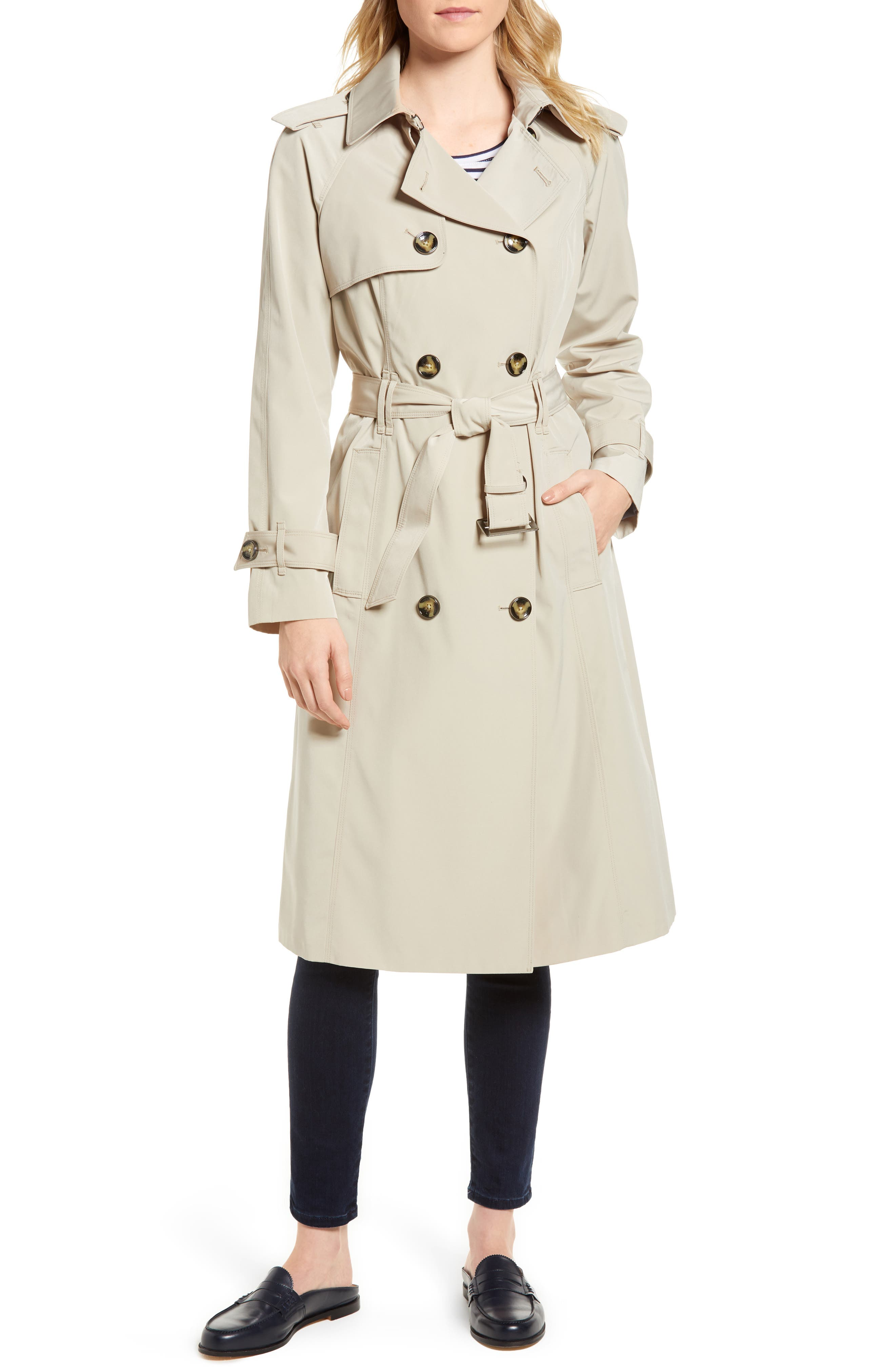 Long Double Breasted Trench Coat,                             Main thumbnail 1, color,                             Stone