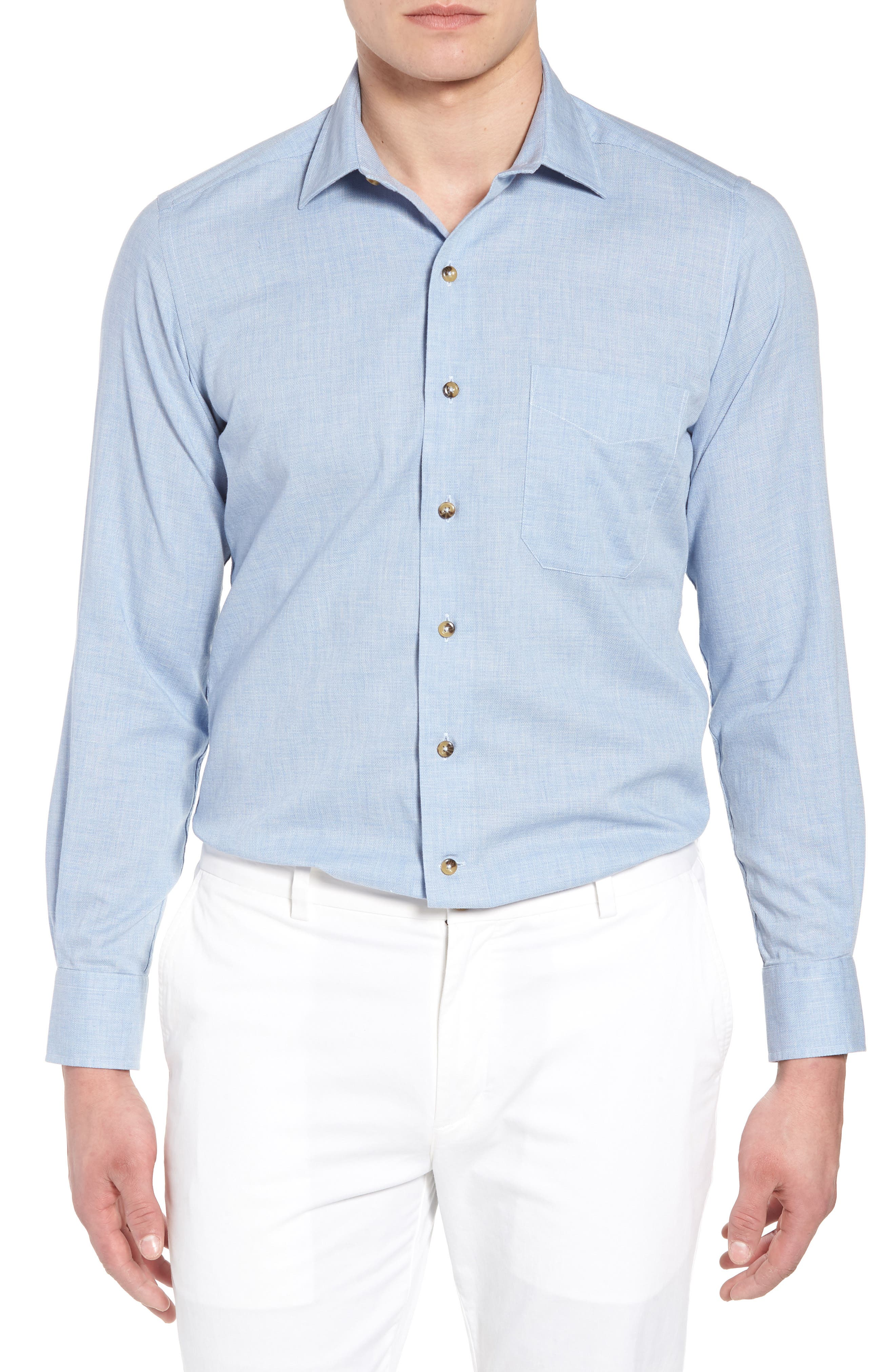 Regular Fit Garment Washed Mélange Sport Shirt,                         Main,                         color, Sky