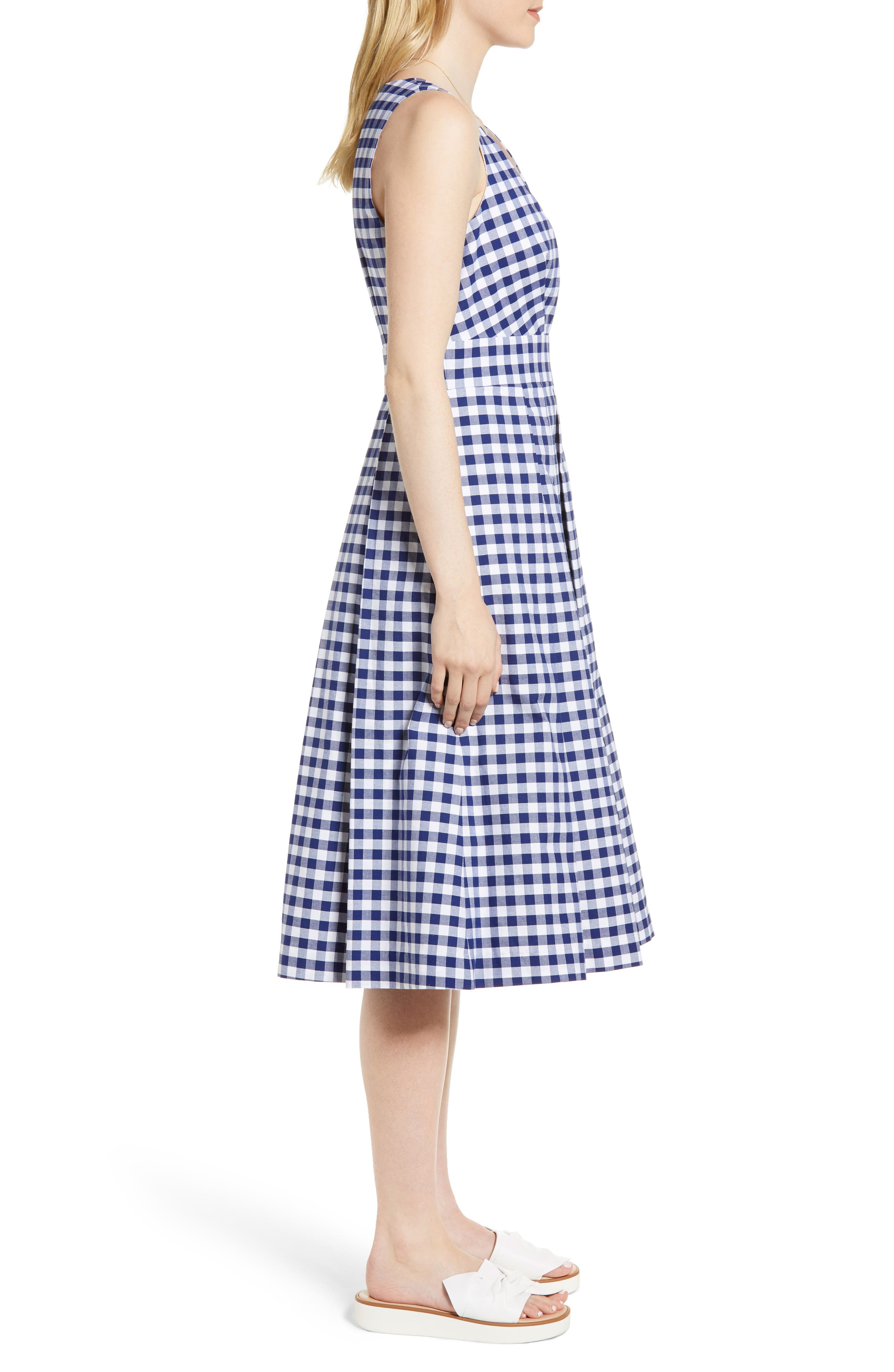 Gingham Fit & Flare Midi Dress,                             Alternate thumbnail 3, color,                             Navy Gingham